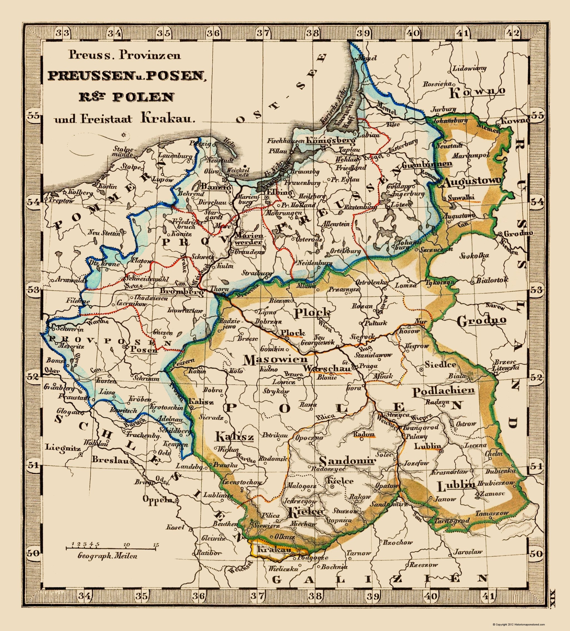 Old Eastern Europe Map Poland And Prussia Stieler 1852
