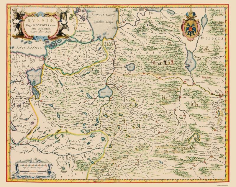 Old Russia Map - Russia In Europe - Blaeu 1638 - 23 x 29.04