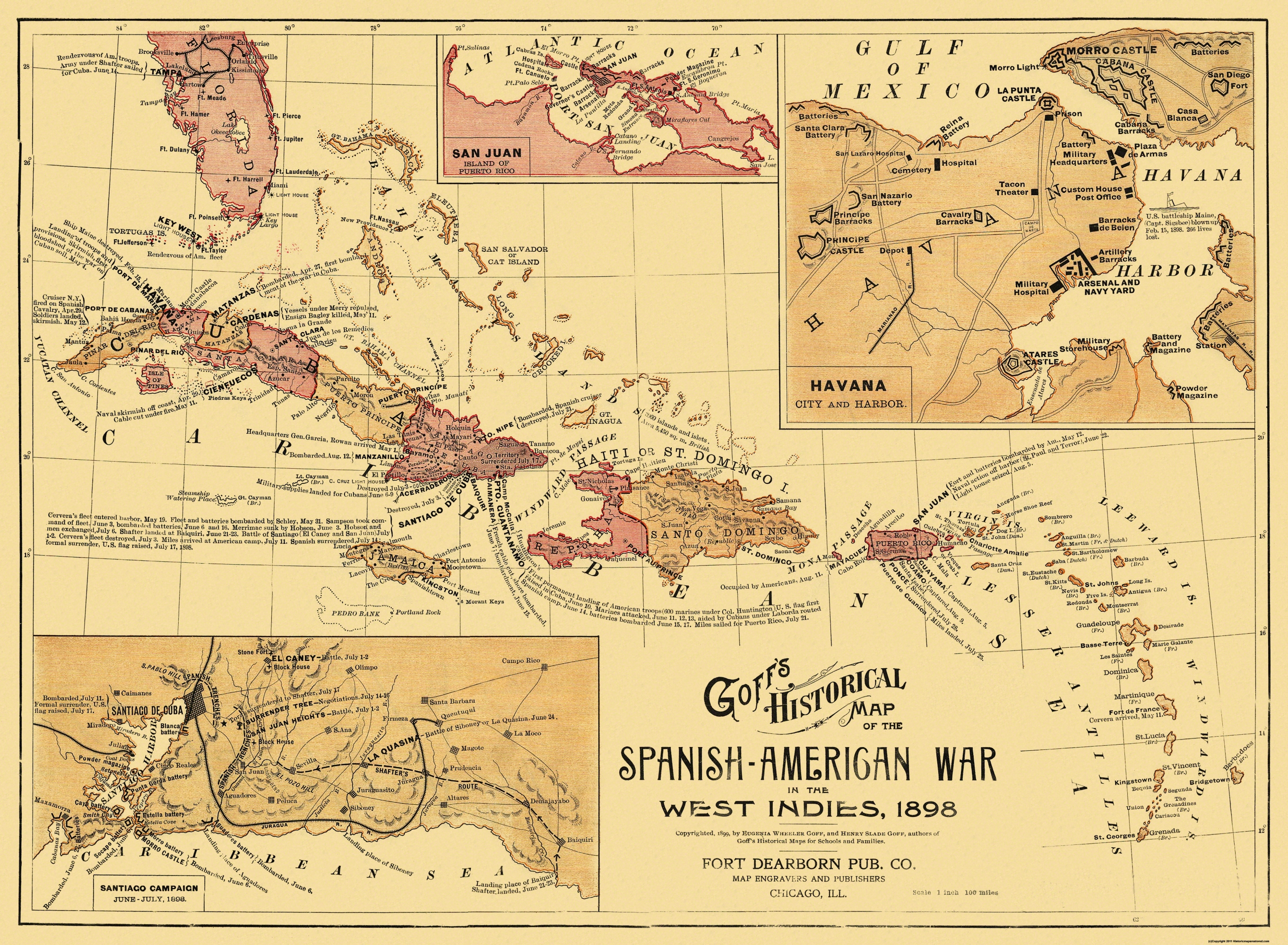 Old caribbean map spanish american war west indies double tap to zoom gumiabroncs Images