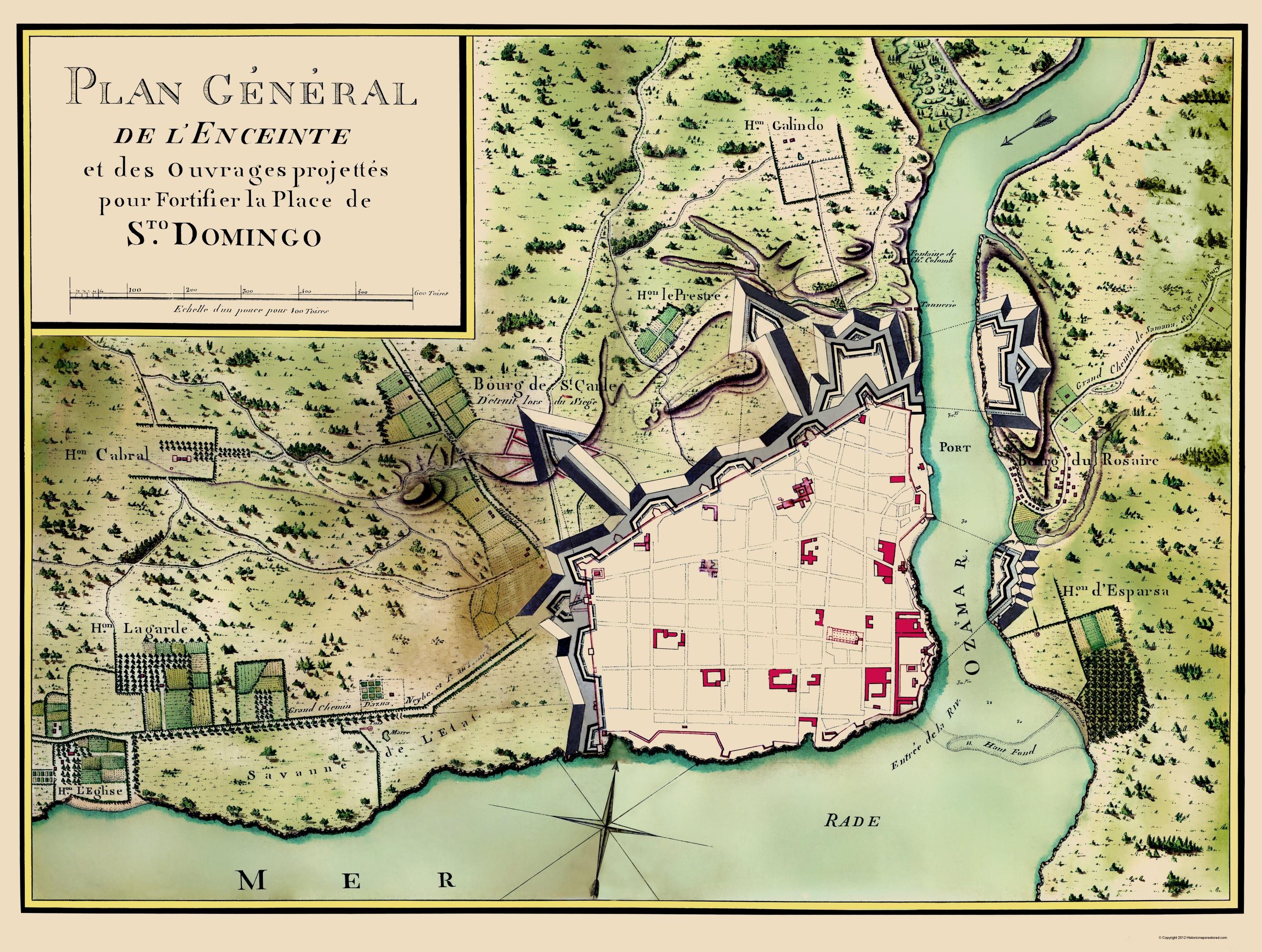 Old Map - Santo Domingo, Dominican Republic 1785