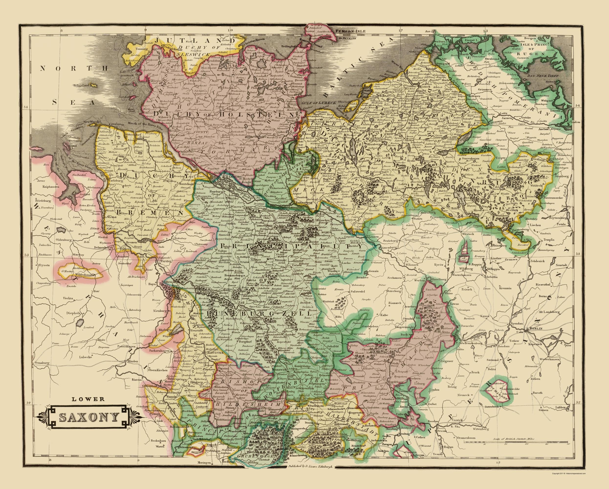 Lower Saxony Germany Map.Old Germany Map Lower Saxony Hamilton 1831