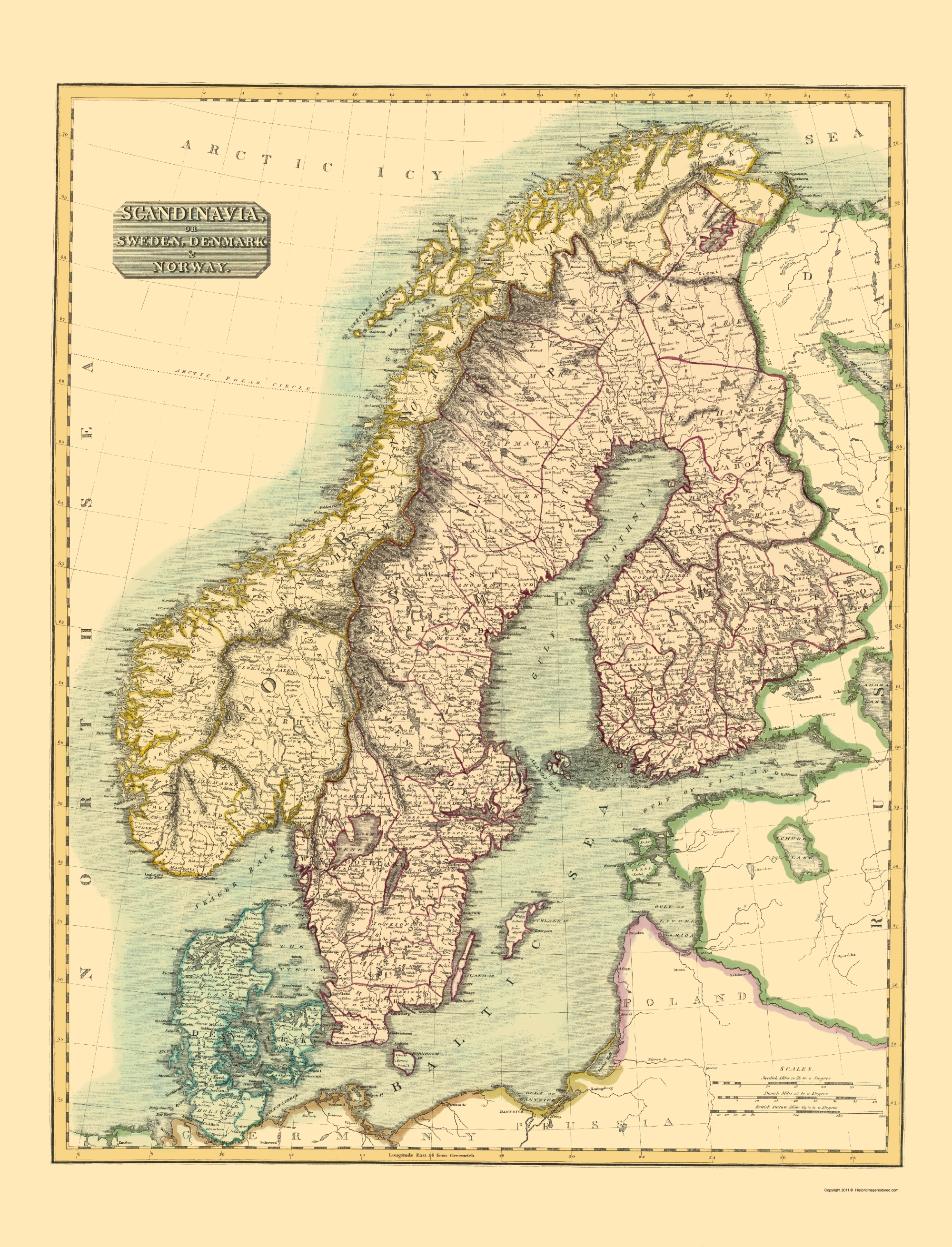 Old Map - Scandinavia or Sweden, Denmark, Norway 1814