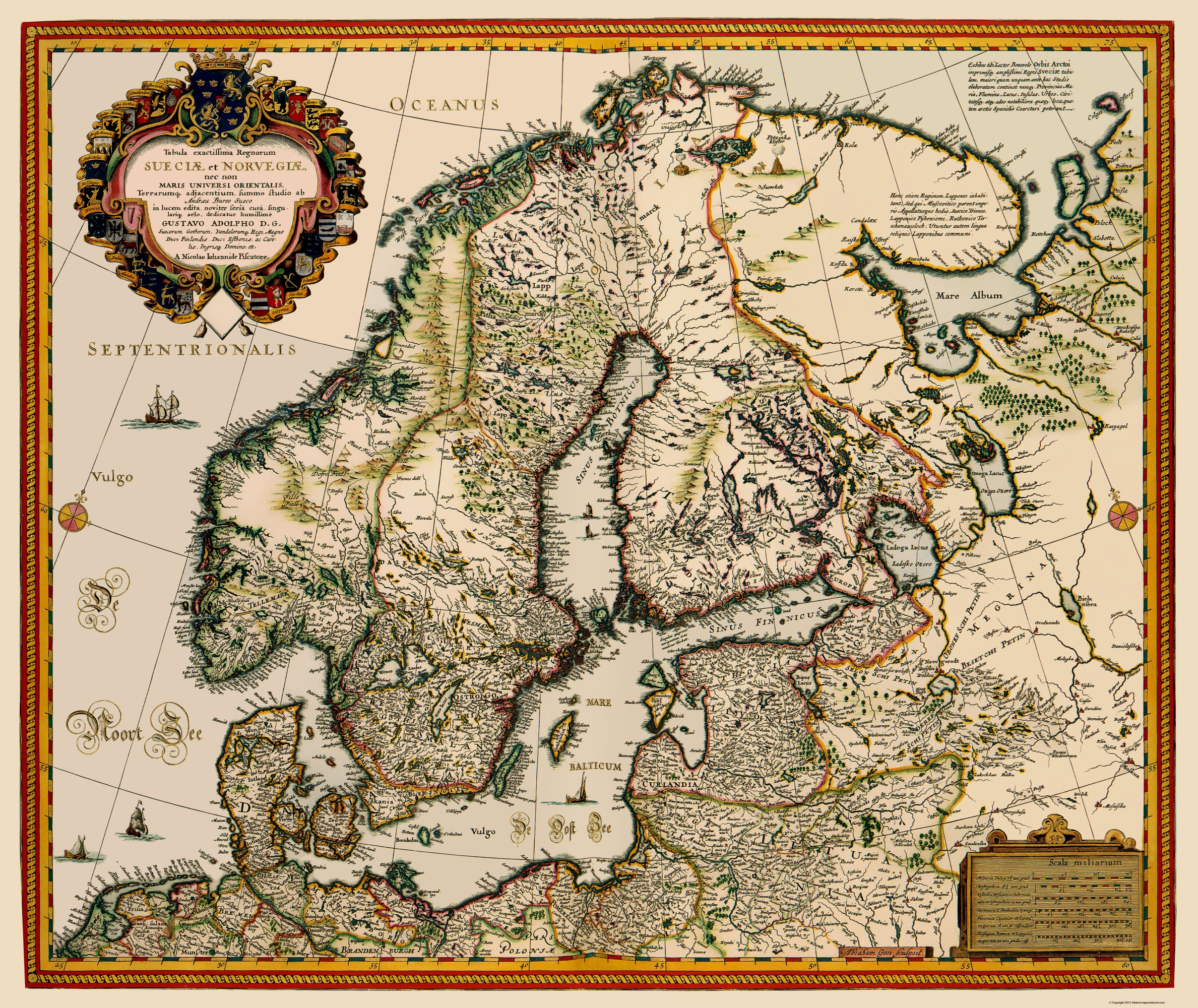 Old Scandinavia Map - Scandinavia Visscher 1656