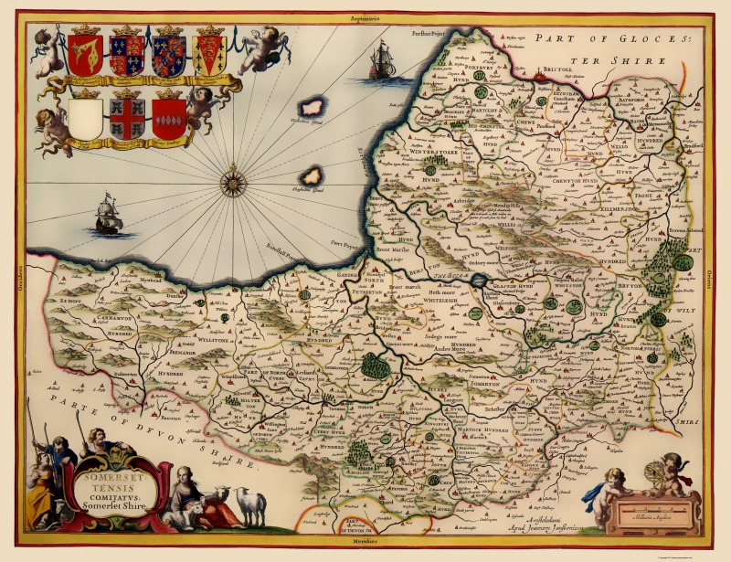 Map Of England 800.Old Great Britain Map Somerset County England Jansson 1646 23 X 29 92