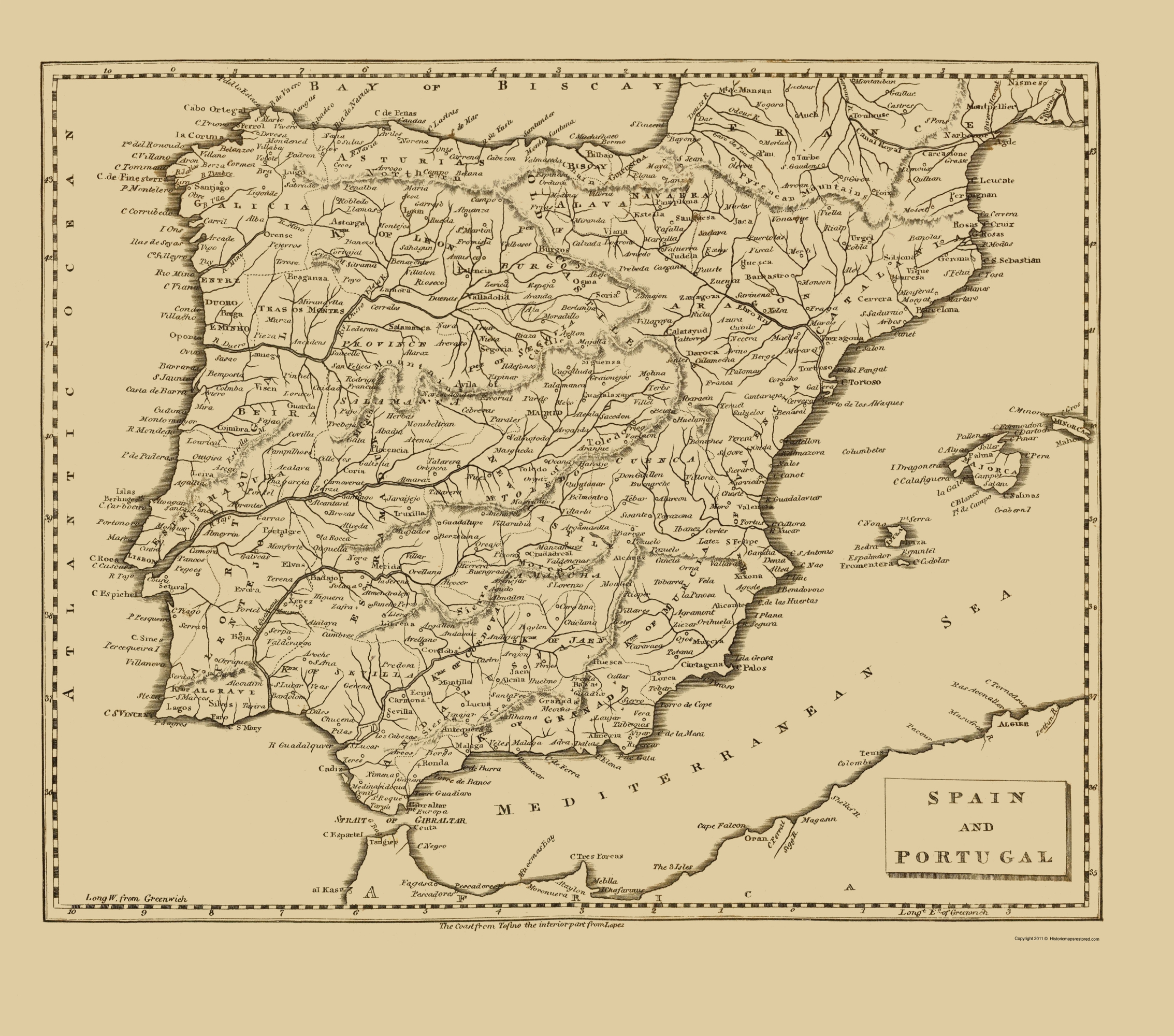 Old Iberian Peninsula Map Spain And Portugal Thomas - Portugal map iberian peninsula