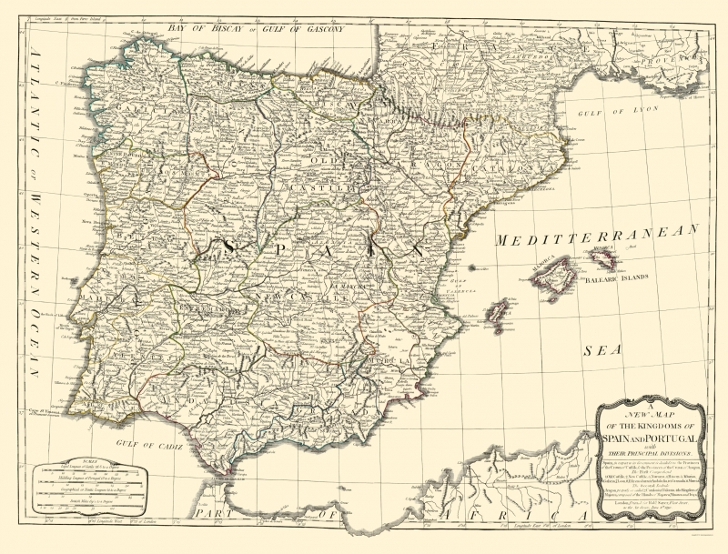 Old Iberian Peninsula Map - Spain and Portugal Kingdoms - Sayer 1790 - 23 x  30