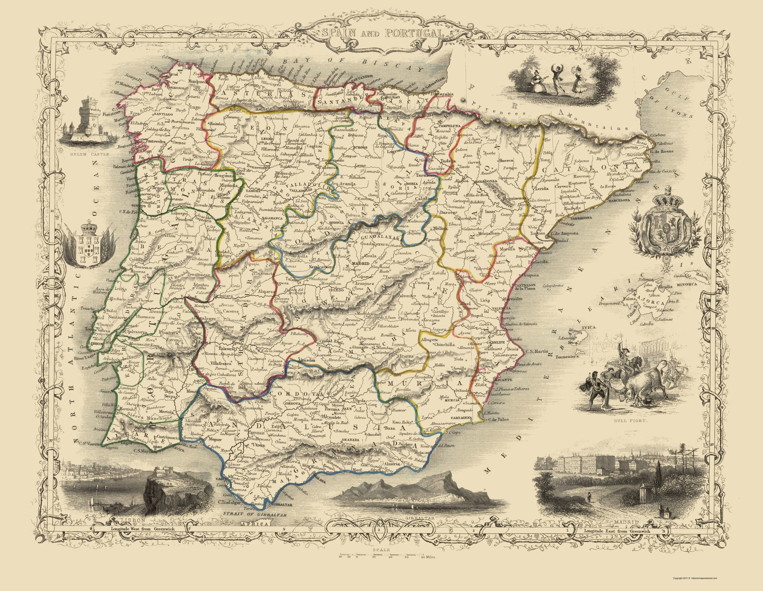 Old Iberian Peninsula Map - Spain and Portugal - 1800 - 23 x 29.72