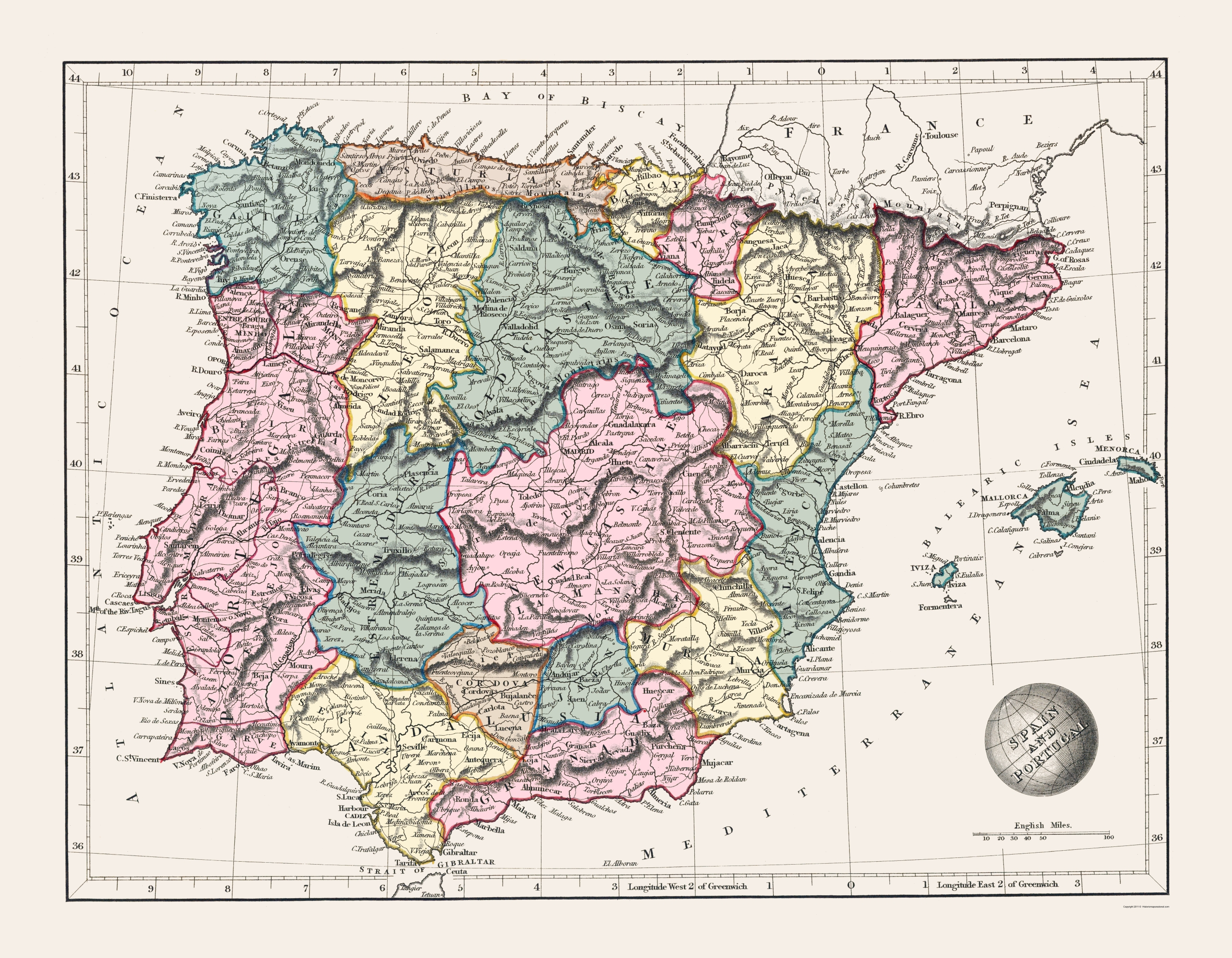 Old Map Spain And Portugal Arrowsmith 1825