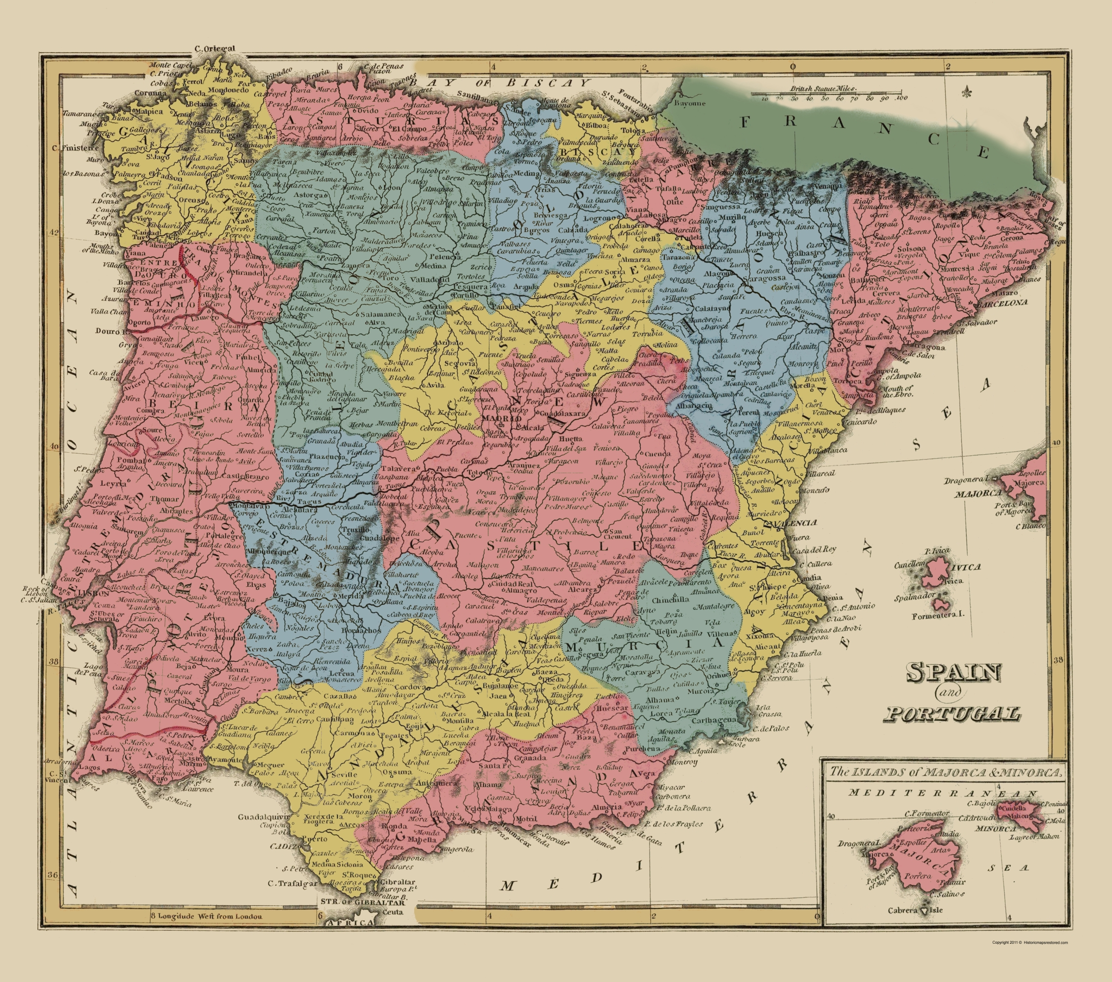 Full Map Of Spain.Old Iberian Peninsula Map Spain And Portugal Lucas 1823 23 X 26 06