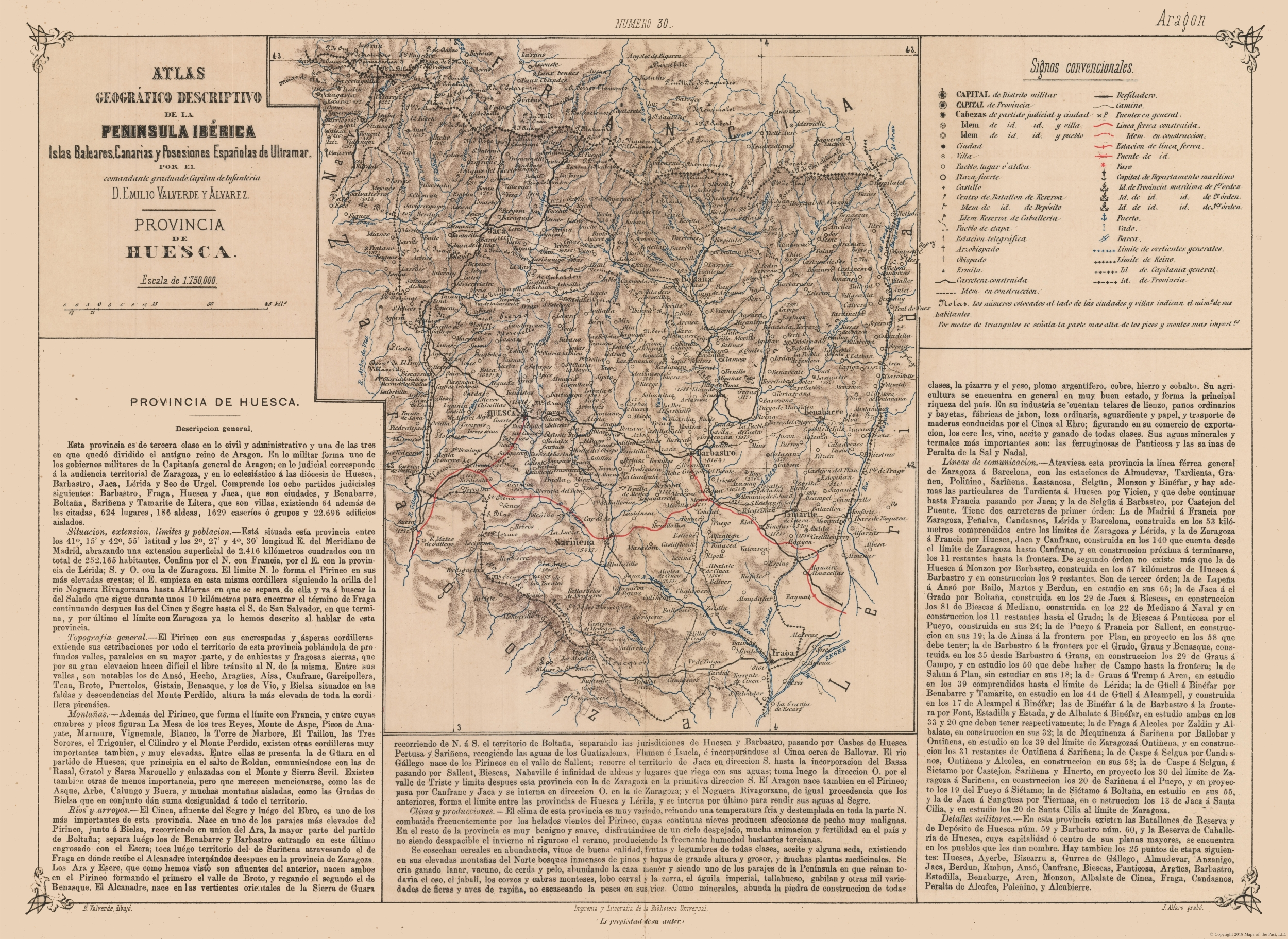 Map Of Spain Huesca.International Map Huesca Province Valverde S Atlas 1880 31 54 X 23