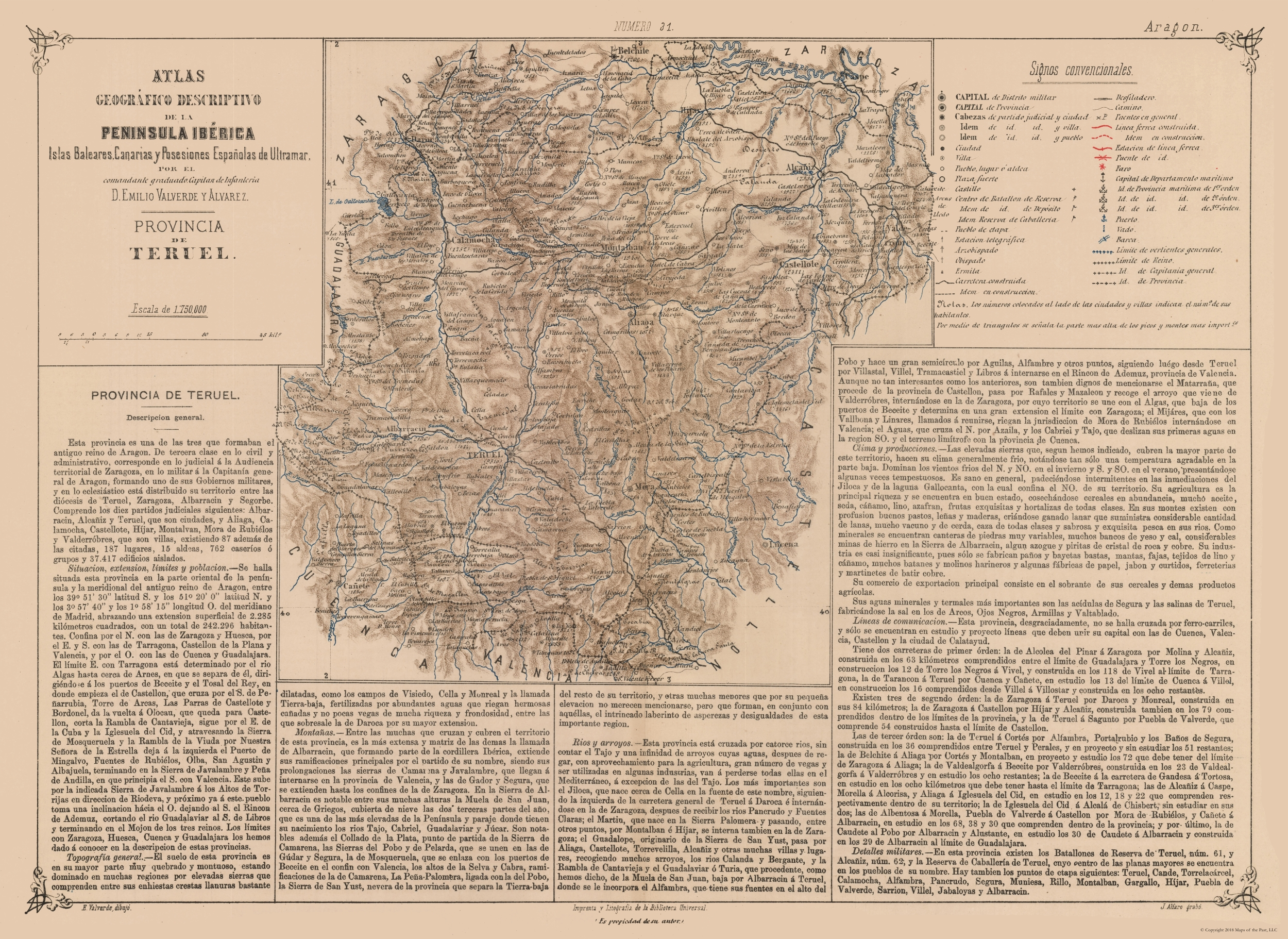Teruel Spain Map.Old International Maps Teruel Province Spain Valverde S Atlas