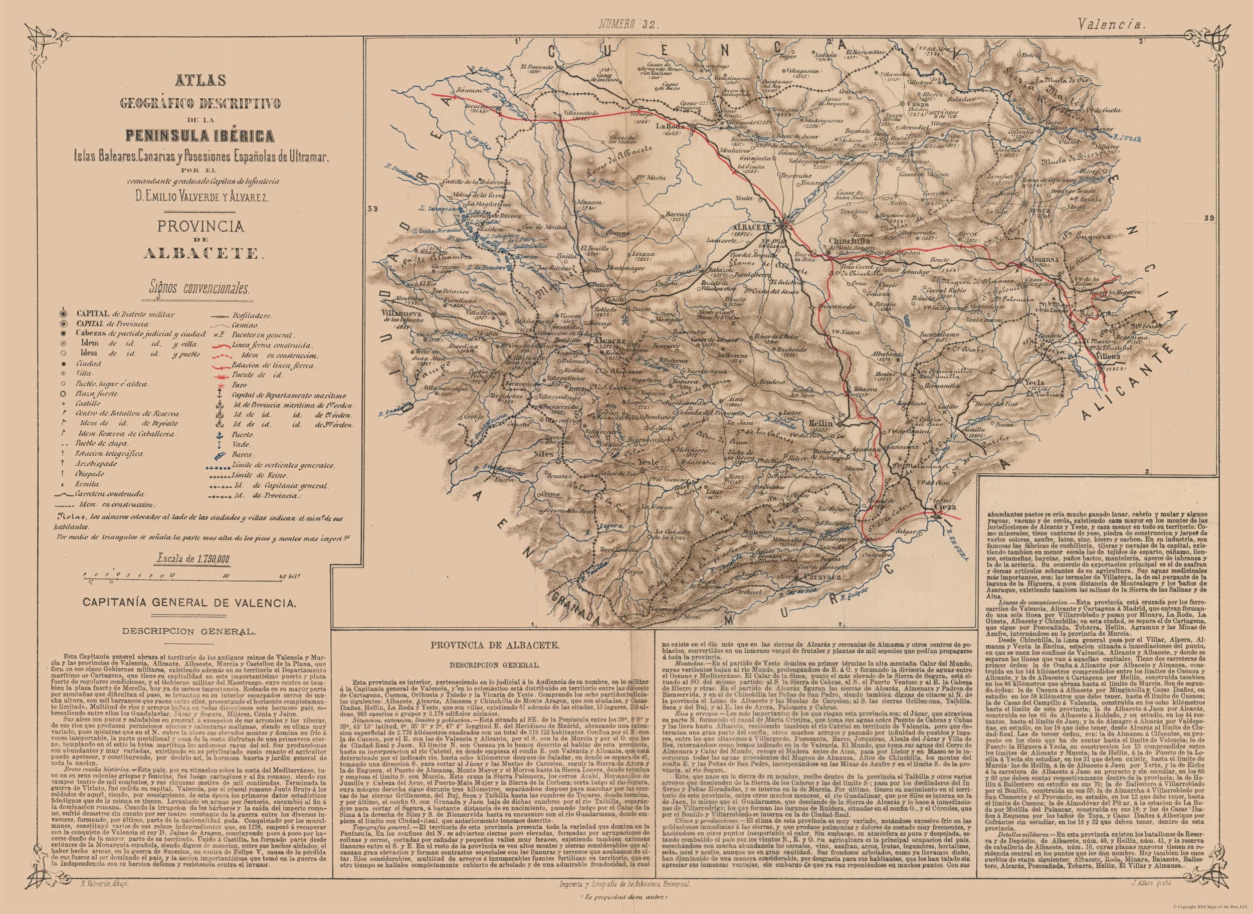 Map Of Yecla Spain.International Map Albacete Province Valverde S Atlas 1880 31 54 X 23