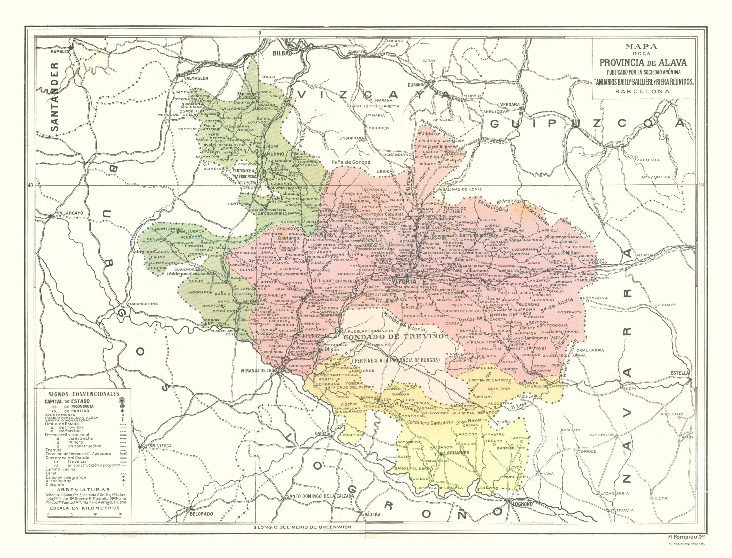Map Of Spain By Province.Old International Maps Alava Province Spain Pompido S Atlas
