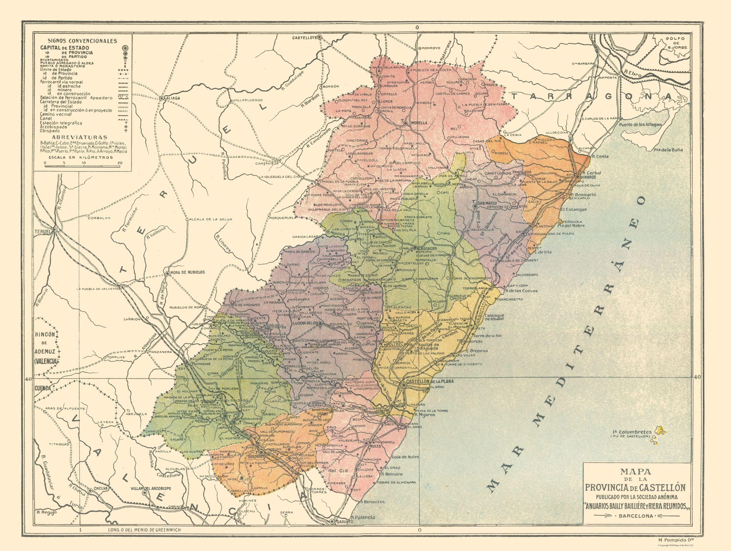 Old International Maps | Castellon Province - Spain - Pompido\'s ...