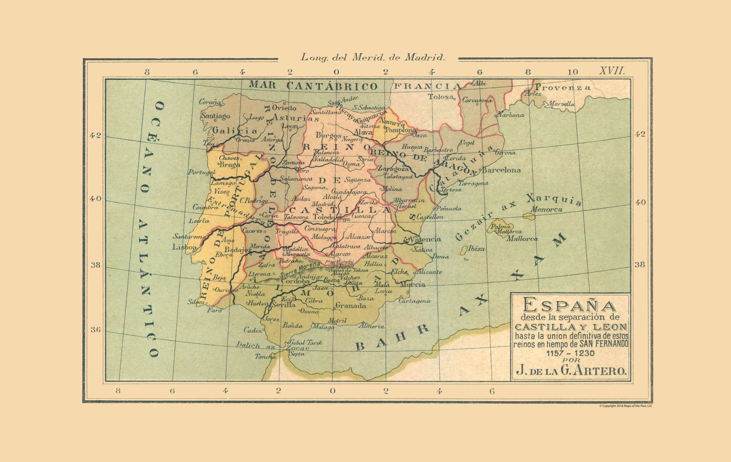 Map Of Spain Oviedo.International Map Spain 1157 Ad 1230 Ad Artero 1879 36 36 X 23