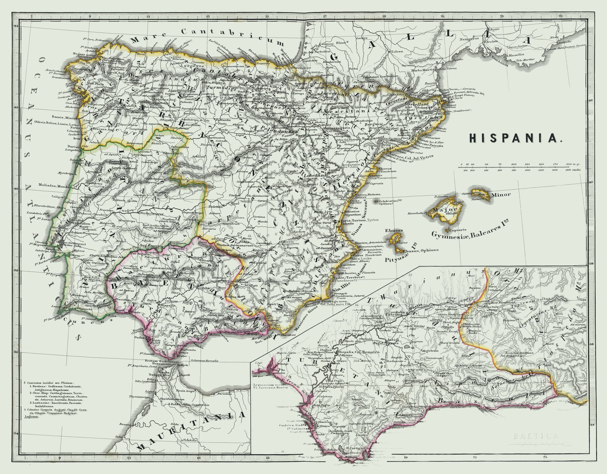Old International Maps Ancient Spain Spruner 1865 29 44 X 23
