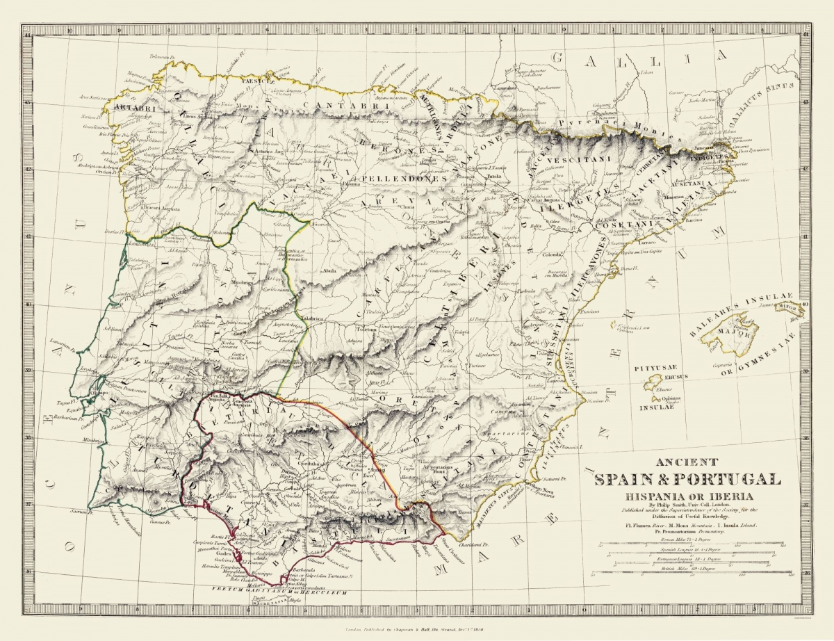 Old International Maps Ancient Spain And Portugal Society 1830