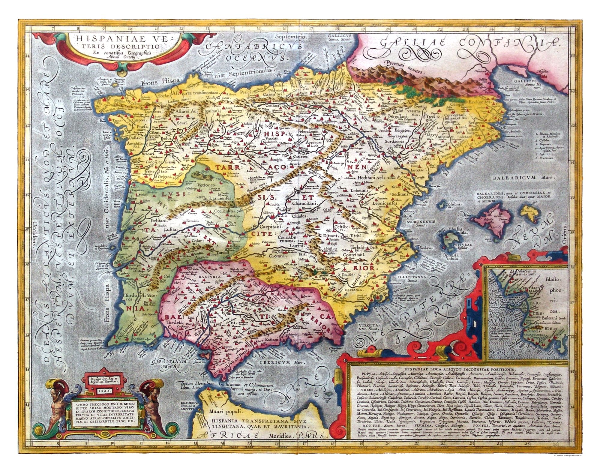 Old International Maps Ancient Spain 1586 Ortelius 29 30 X 23