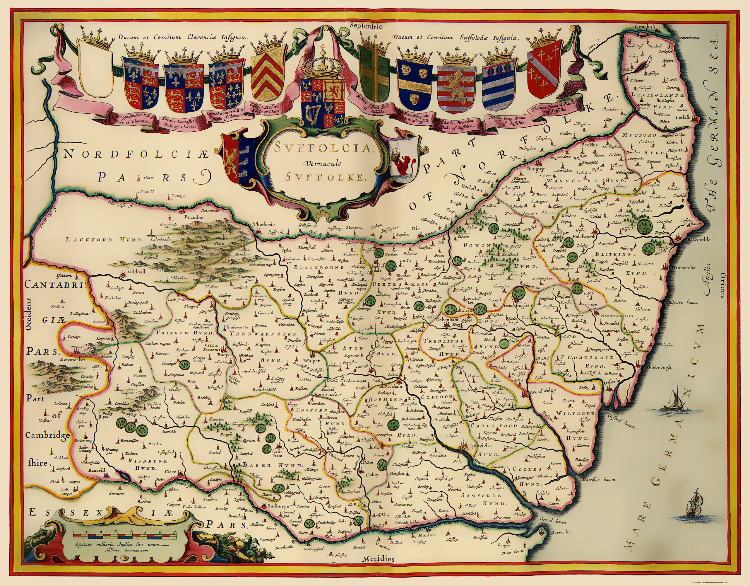 Suffolk County England Map.Old Great Britain Map Suffolk County England 1646