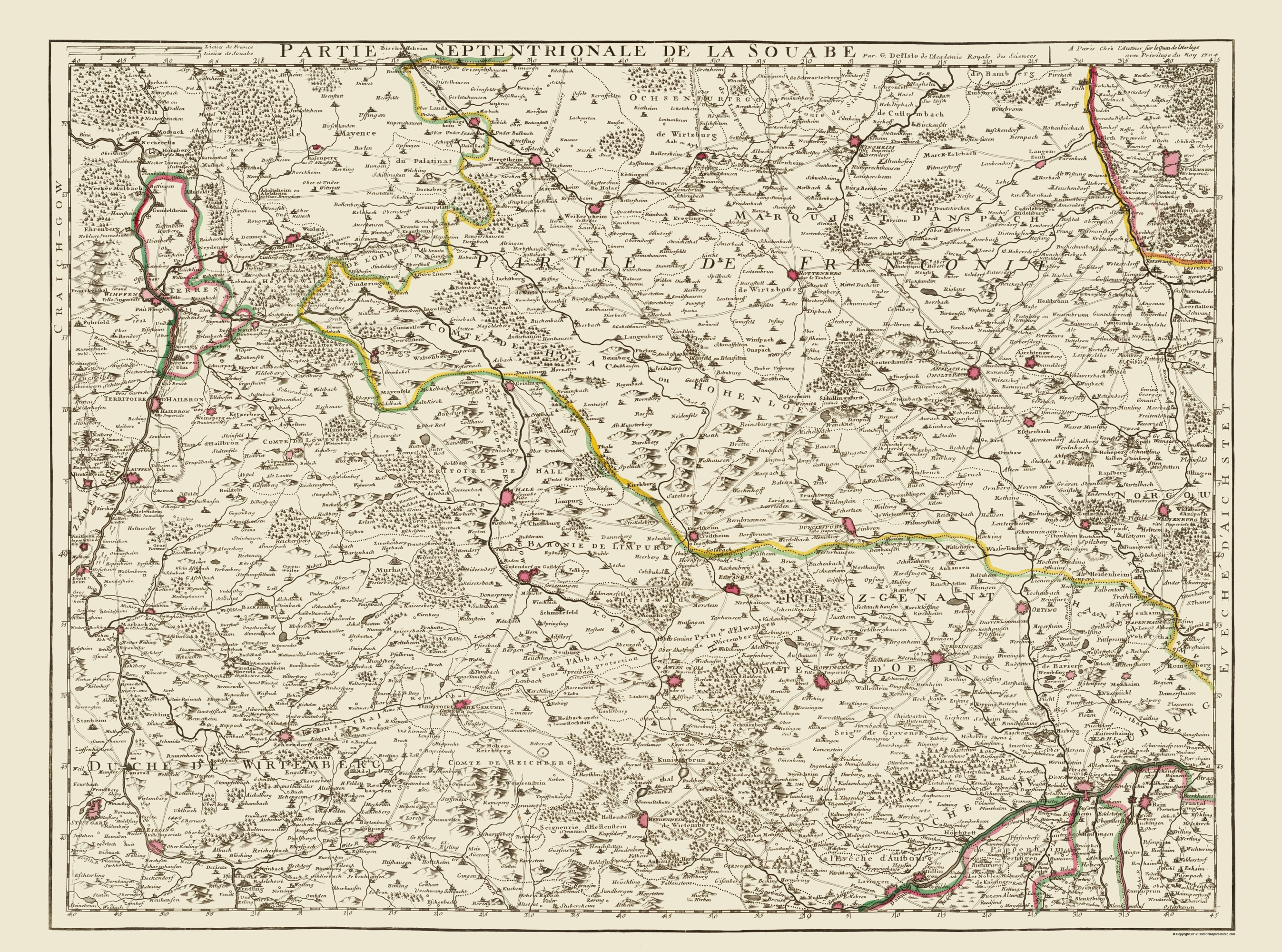Map Of Old Germany.Old Germany Map Swabia Covens 1742