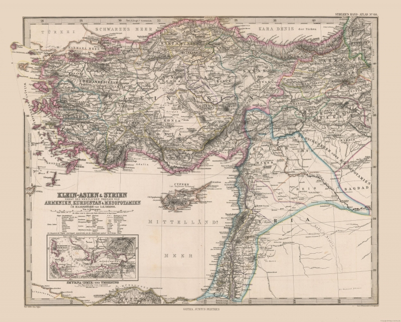 Map Of Asia Minor.Old Middle East Map Asia Minor Syria Stielers 1885 28 68 X 23