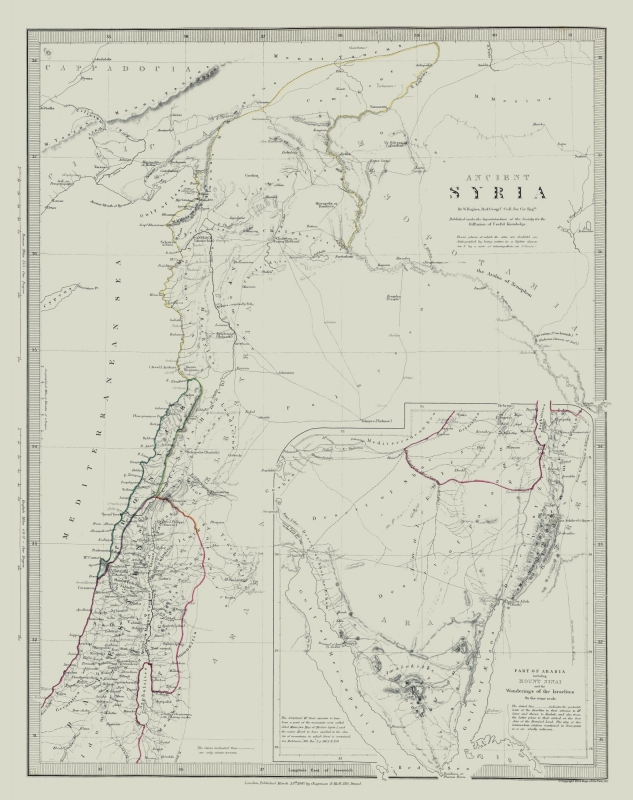 International Map - Ancient Syria - Society 1830 - 23 x 29.06
