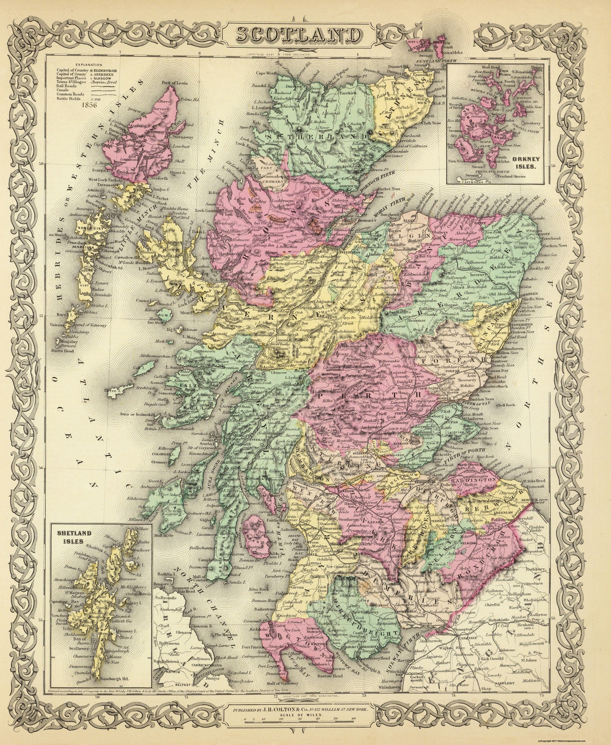 Old Great Britain Map - Scotland - Colton 1855 - 23 x 28 03