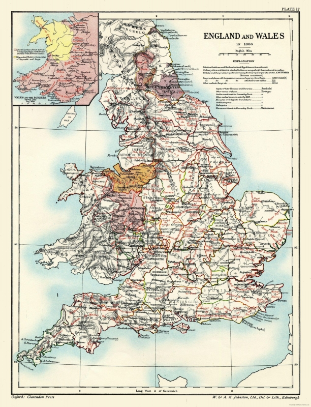 Full Map Of England.International Map England And Wales 1086 Poole 1902 23 X 30 09