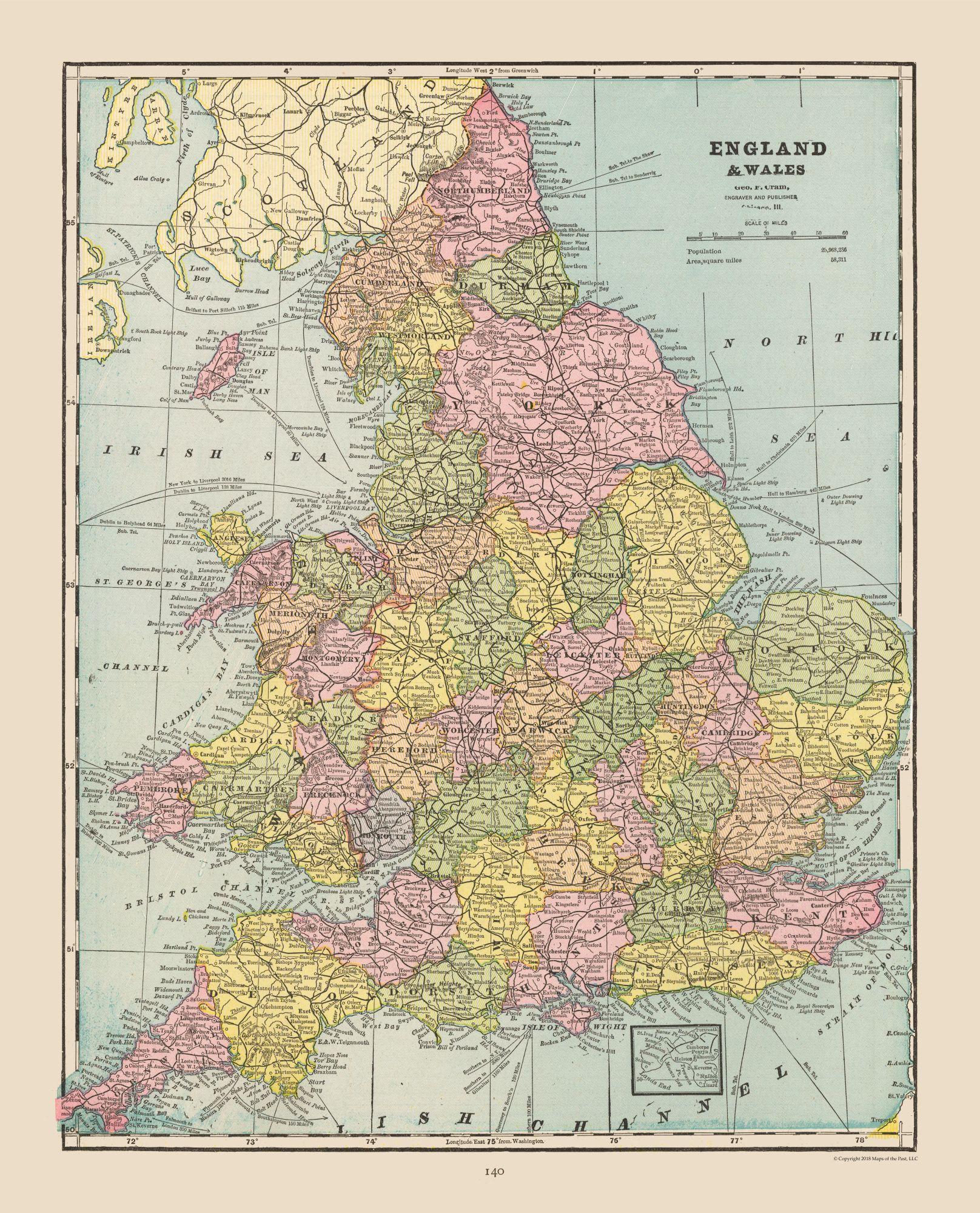 Full Map Of England.International Map England Wales Cram 1892 23 X 28 47