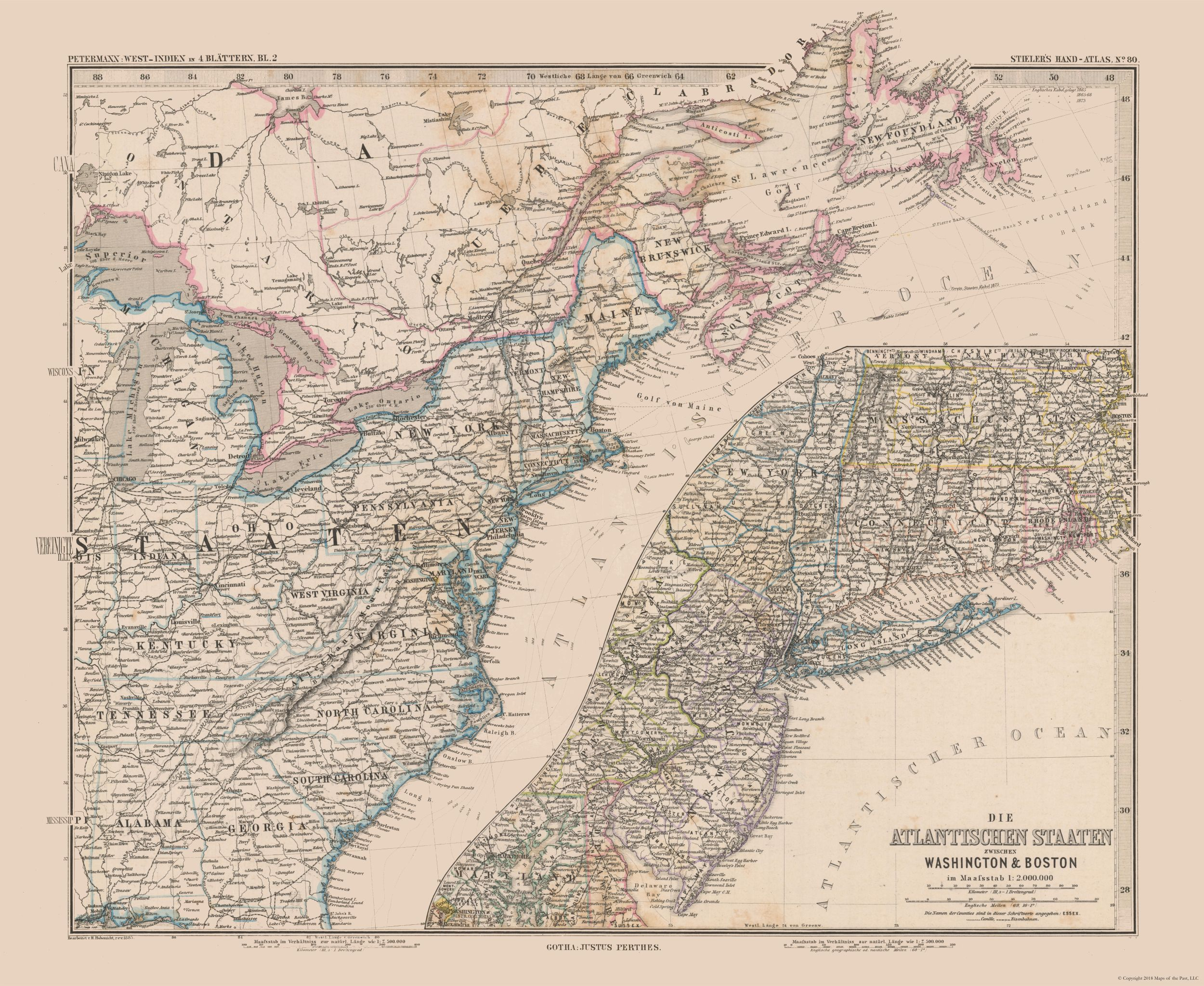 Old International Maps | Eastern US, Canada - Stielers 1885 - 28.09 x 23