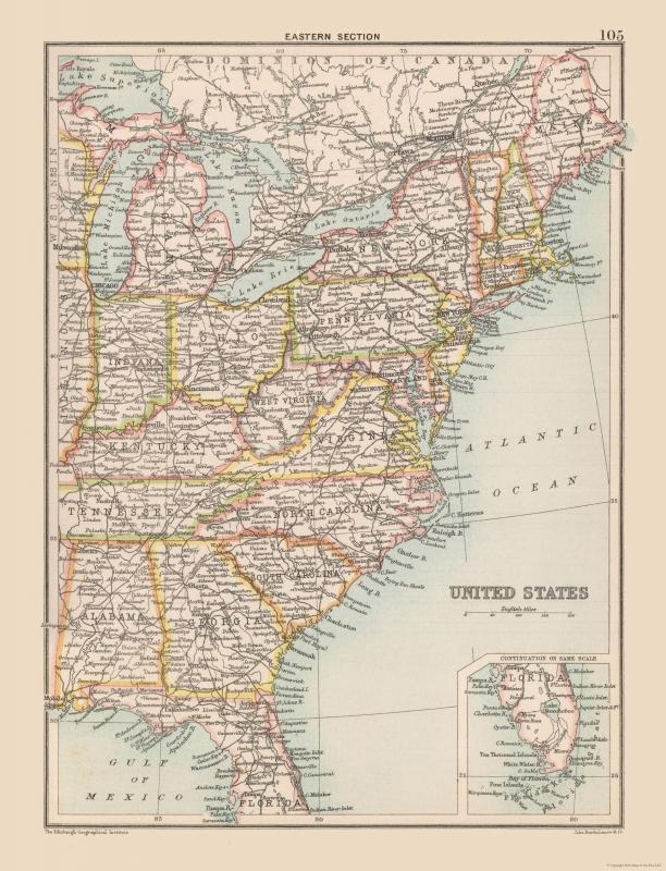 United States Map - Eastern United States - Bartholomew 1892 - 30.10 x 23