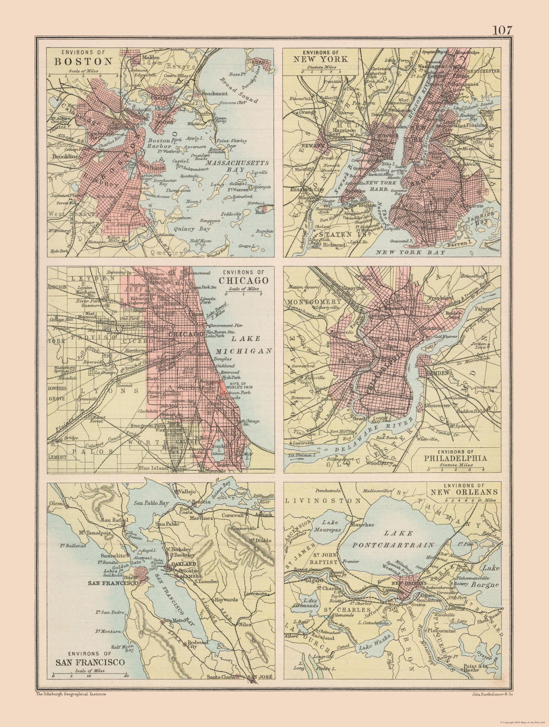 Old International Maps | United States Major Cities - Bartholomew ...