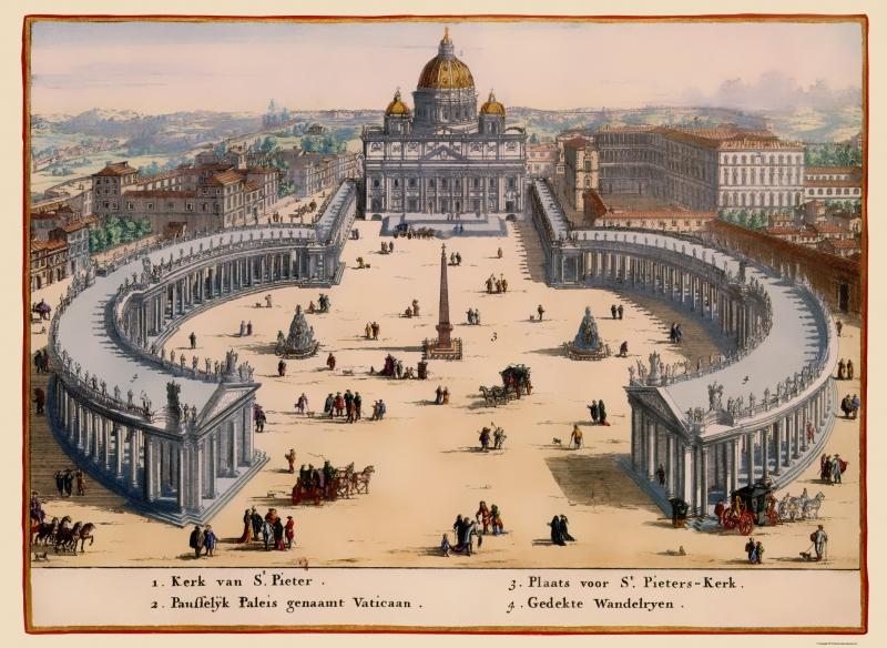 Old Italy Map - Vatican City Panoramic - Visscher 1681 - 23 x 31 54