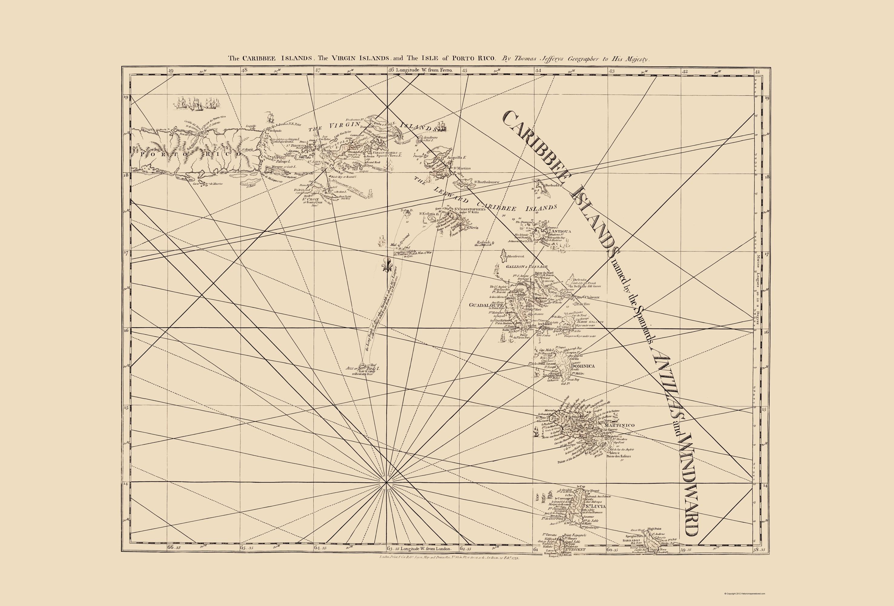 Old Caribbean Map - Virgin Islands, Puerto Rico 1775