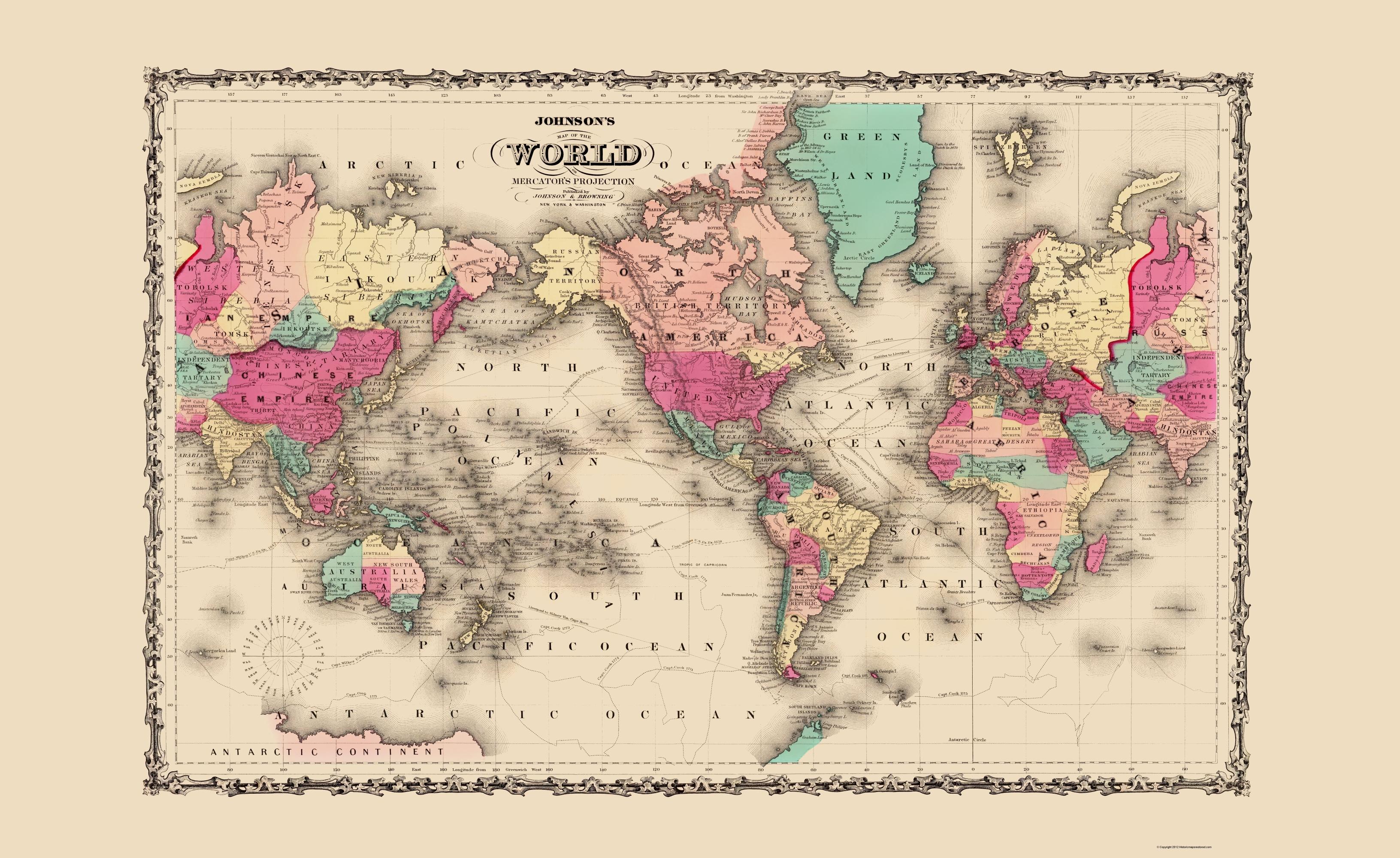 Old World Map   Johnson 1860