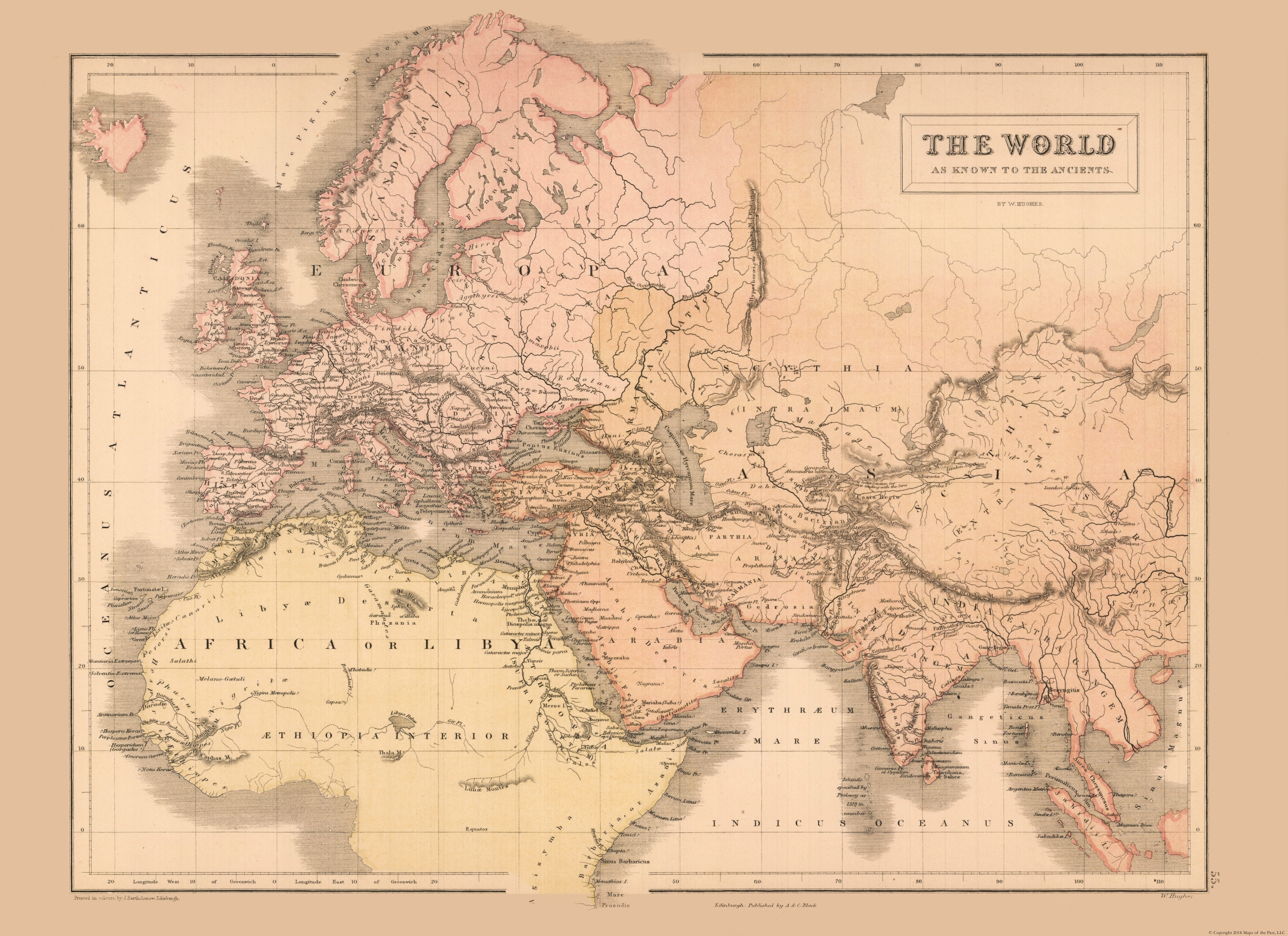 Old International Maps Ancient Europe Asia Africa Black S