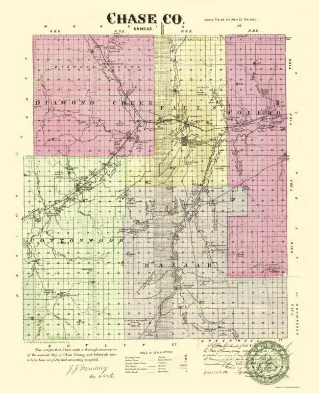 Old County Map - Chase Kansas - Everts 1887 - 23 x 28.25 on