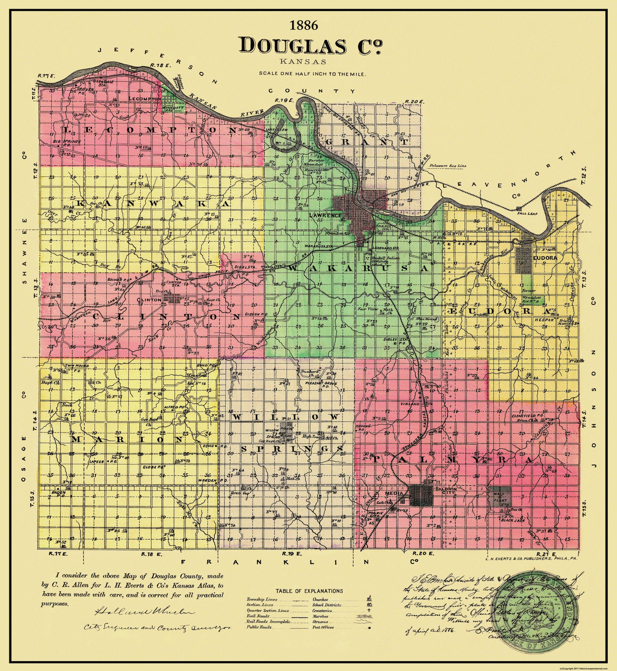 Old Kansas Map.Old County Map Douglas Kansas Allen 1886
