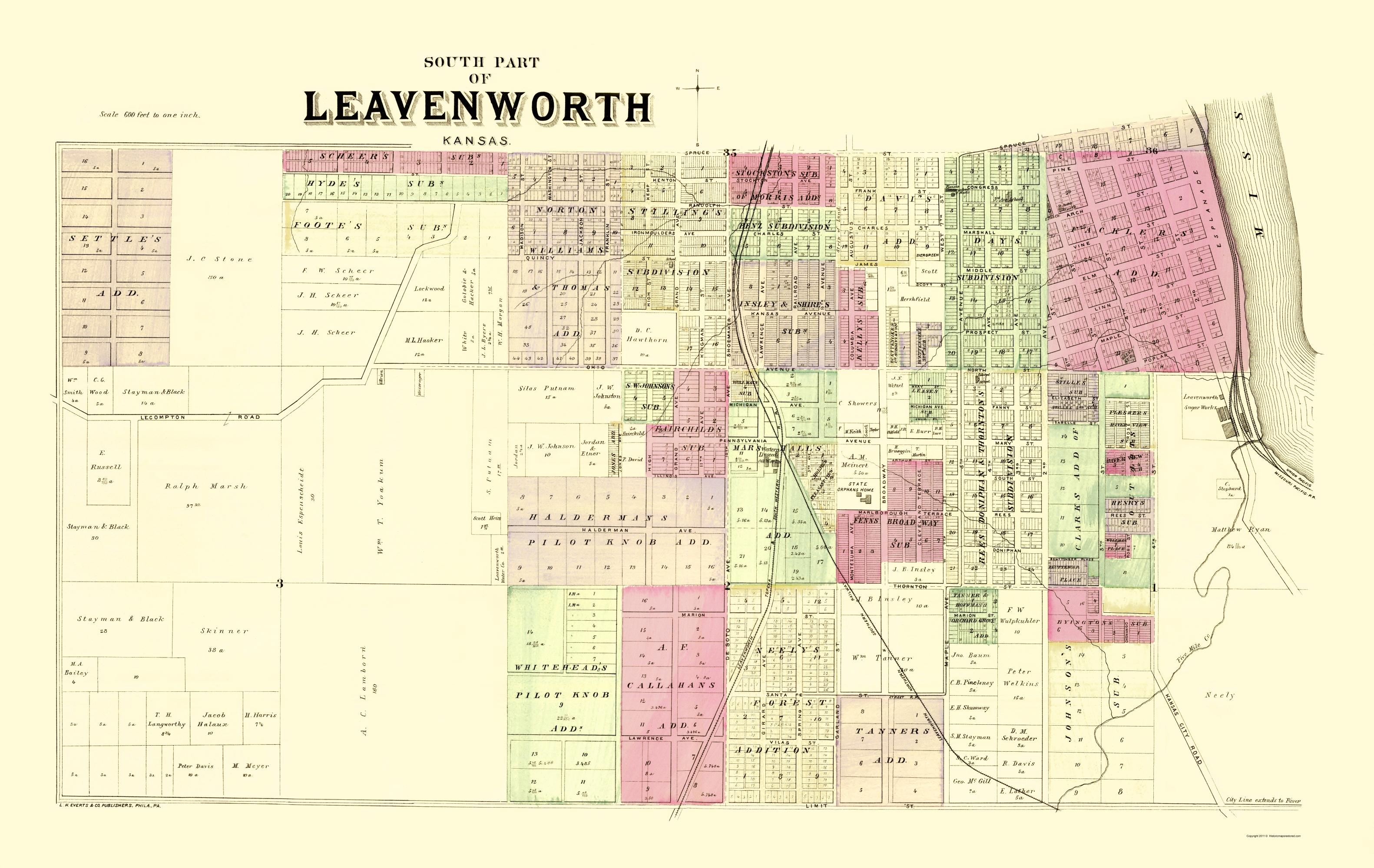 Old Kansas Map.Old City Map Leavenworth South 2 Of 3 Kansas 1887