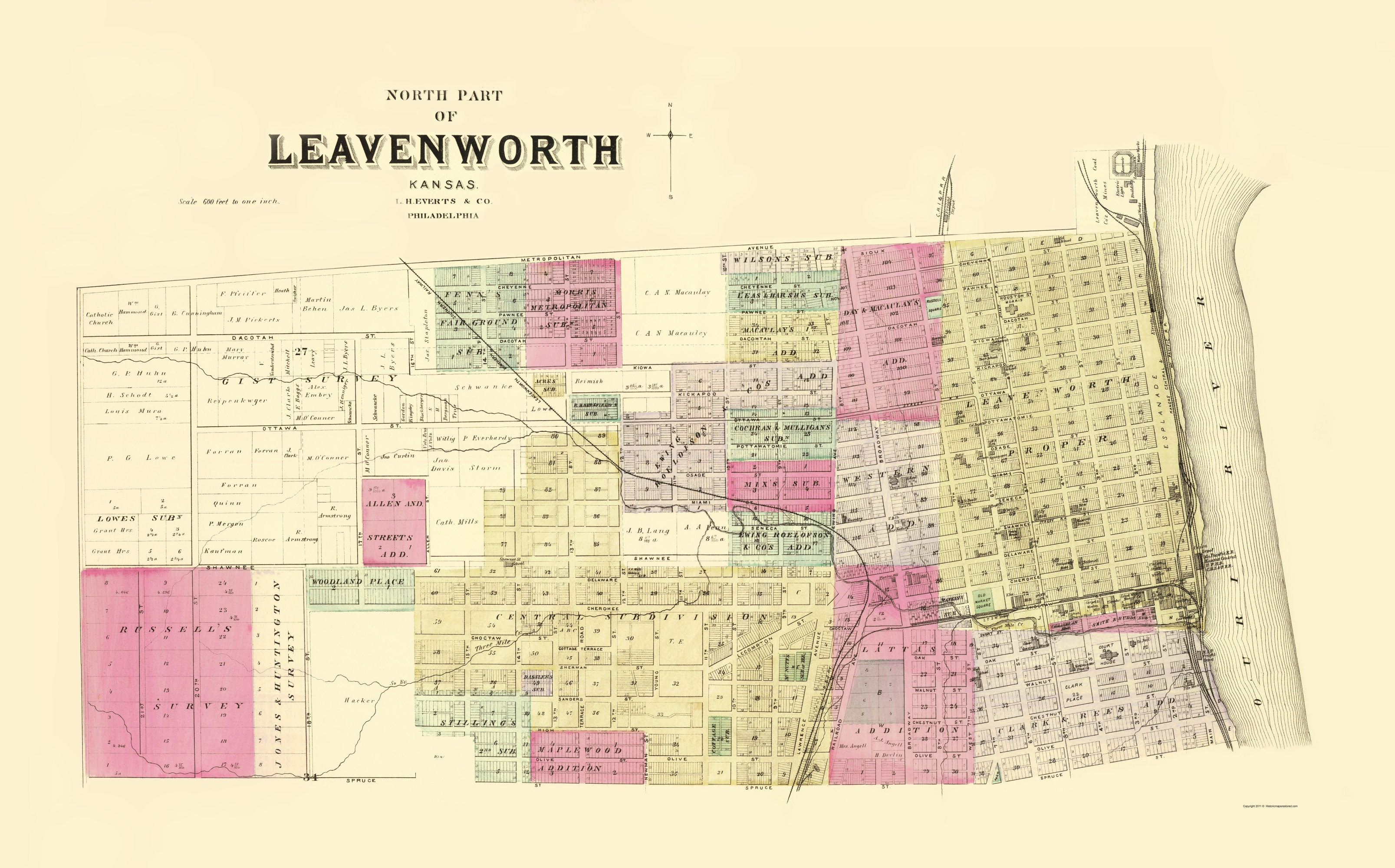 Old City Map - Leavenworth, North, 3 Of 3 Kansas 1887