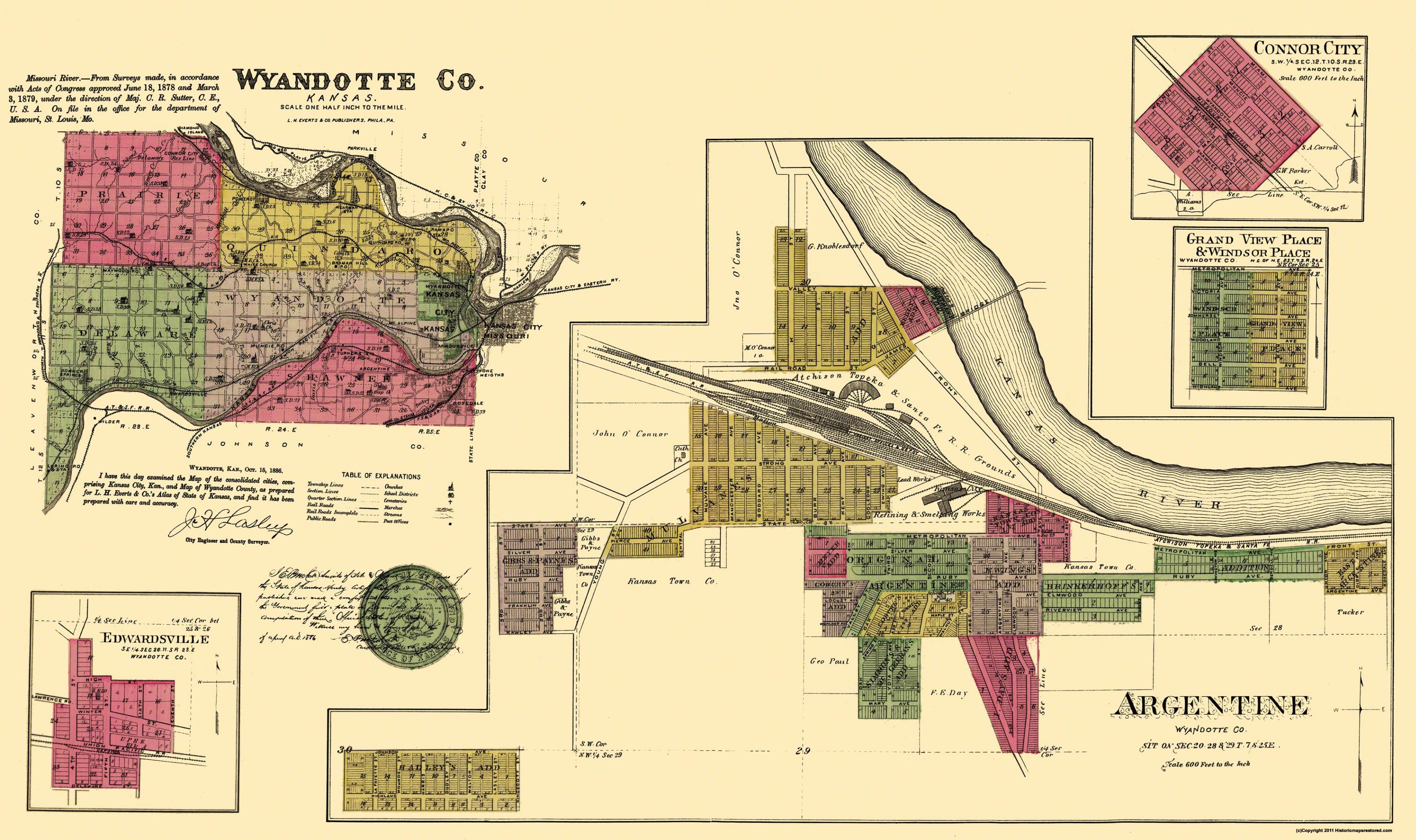 Old Kansas Map.Old County Map Wyandotte Kansas Landowner Everts 1878
