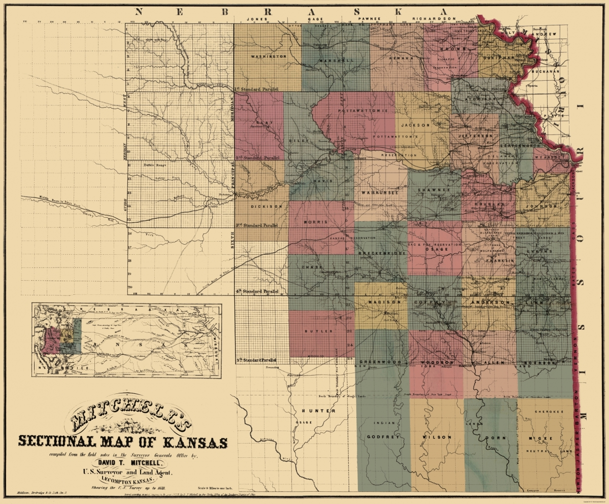 Old State Map North East Kansas Mitchell - Us map of republican city