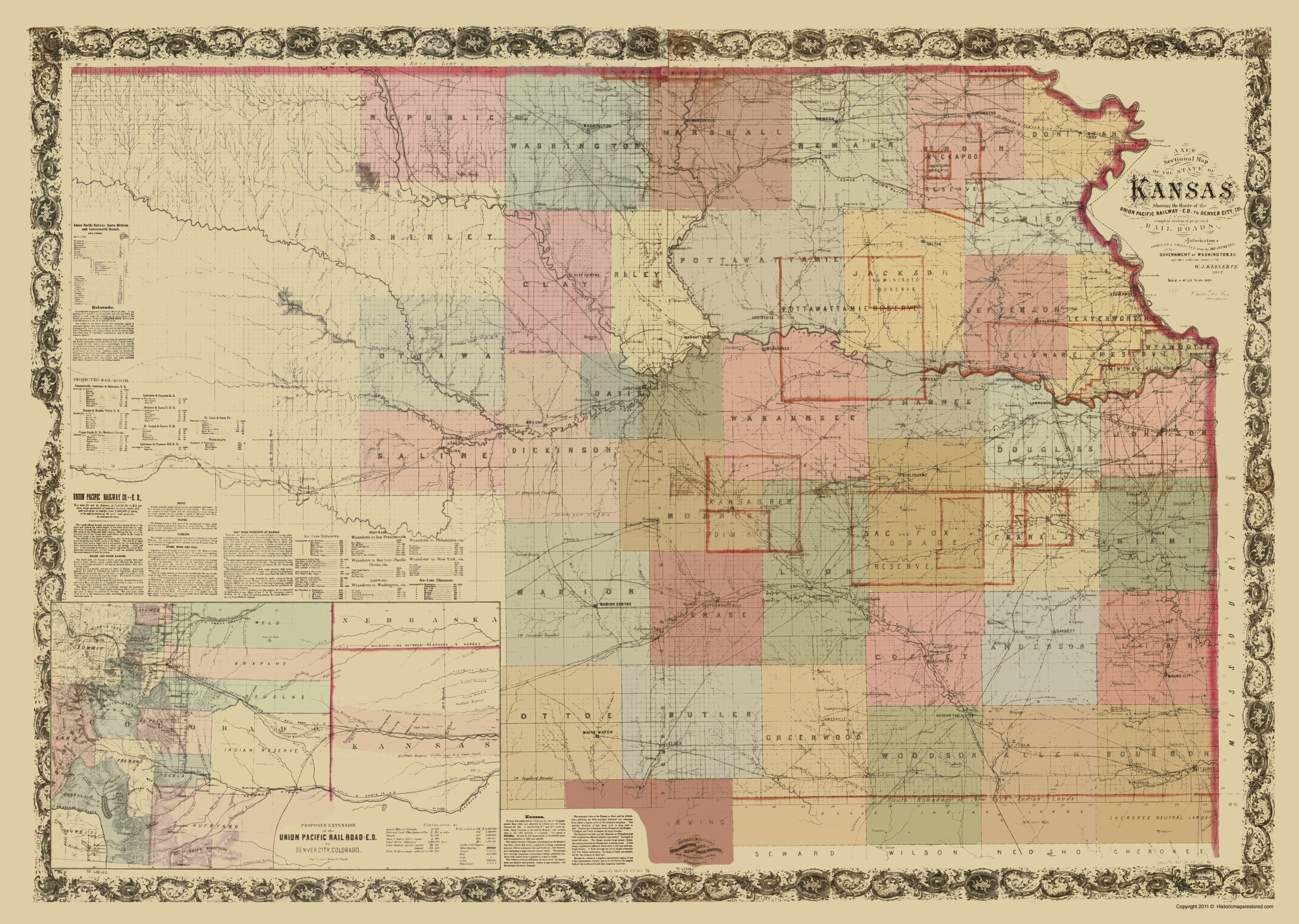 Old Kansas Map.Old Railroad Map Kansas Projected Railroads 1867
