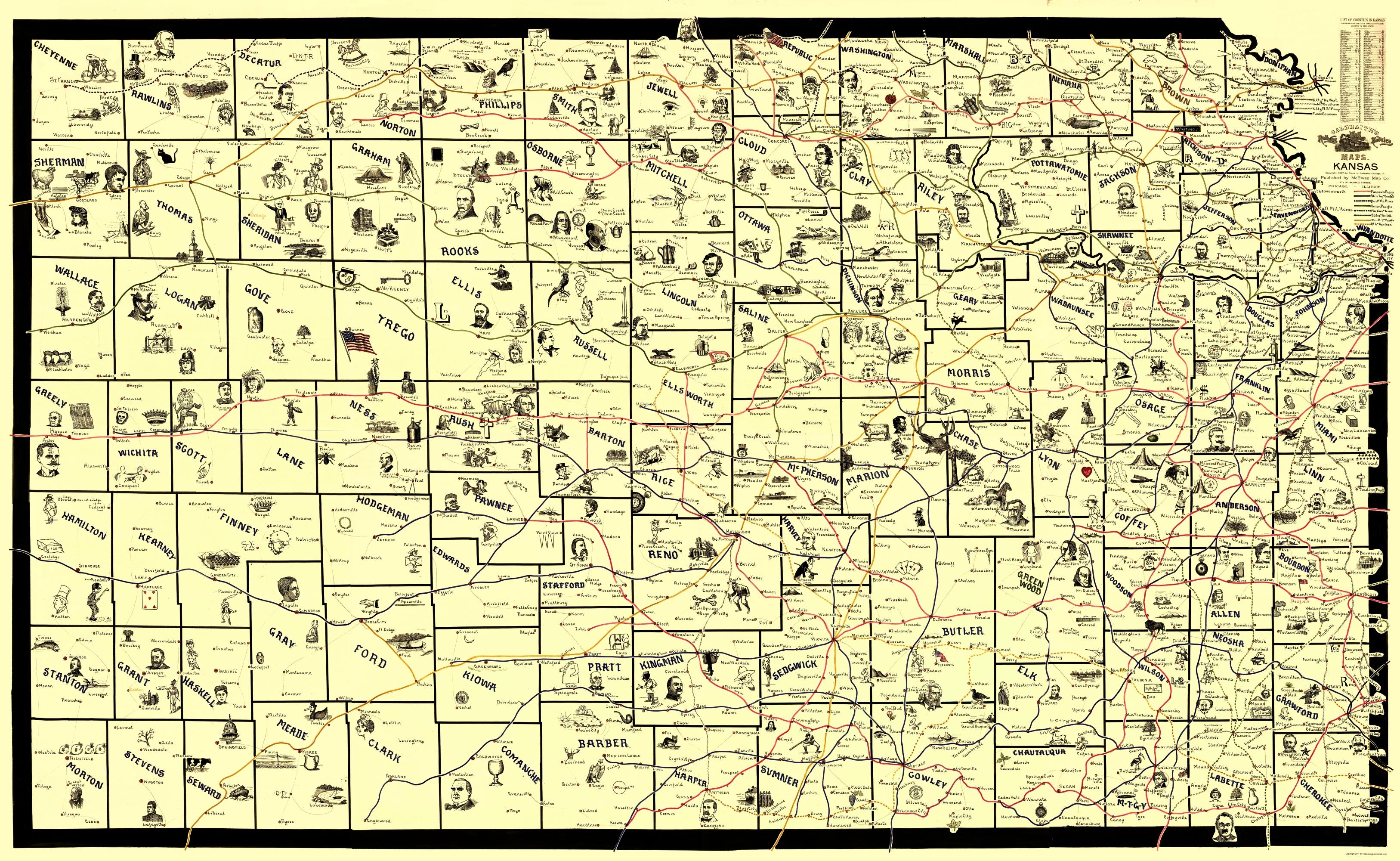 Old Kansas Map.Old Railroad Map Kansas Railroad Routes 1897