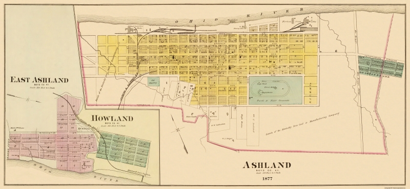 graphic about Printable Map of Kentucky titled Ashland Kentucky - Hayes 1877 - 46.69 x 23