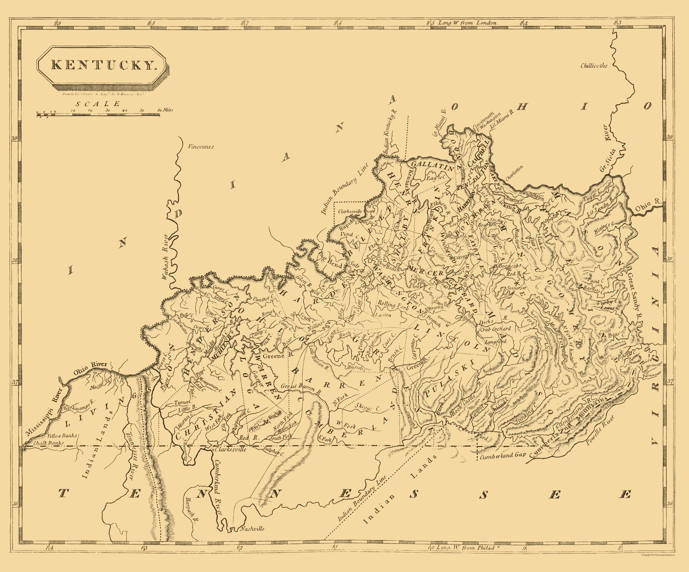 Old State Map Kentucky Conrad - 1804 us map
