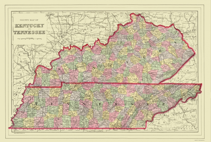 Old State Map Kentucky Tennessee Counties - Kentucky tennessee map