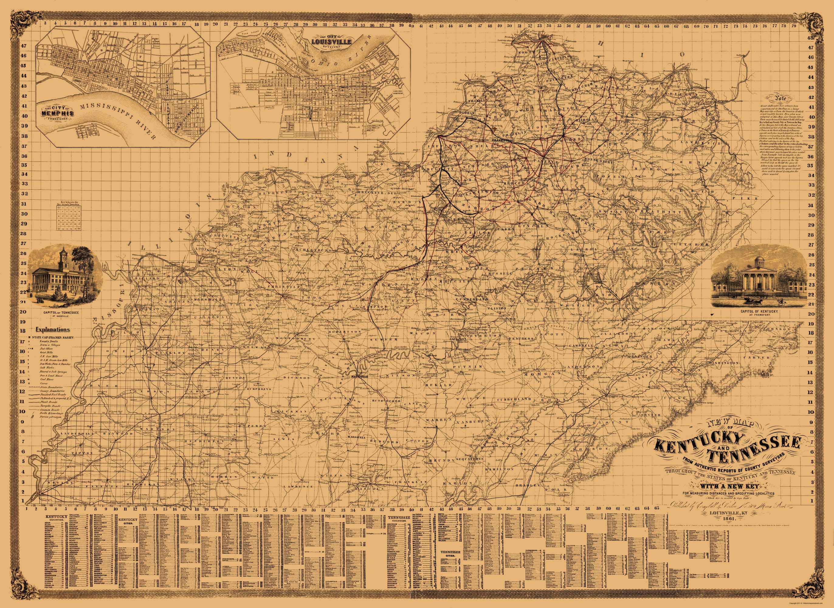 Old State Map - Kentucky, Tennessee - Campbell 1861 - 23 x 31.56 on ky highway map, ky fish and wildlife map, ky area map, louisville ky city limits map, ky border map, ky phone map, lexington ky map, ky tennessee map, ky airport map, kentucky map, ky topographic map, illinois map, ky parks and maps, ky road maps driving directions, ky town map, ky co map, i-64 mile marker map, ky school district map, ky region map, ky county map,
