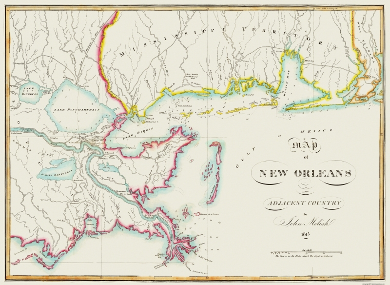 Old City Map New Orleans Louisiana 1815