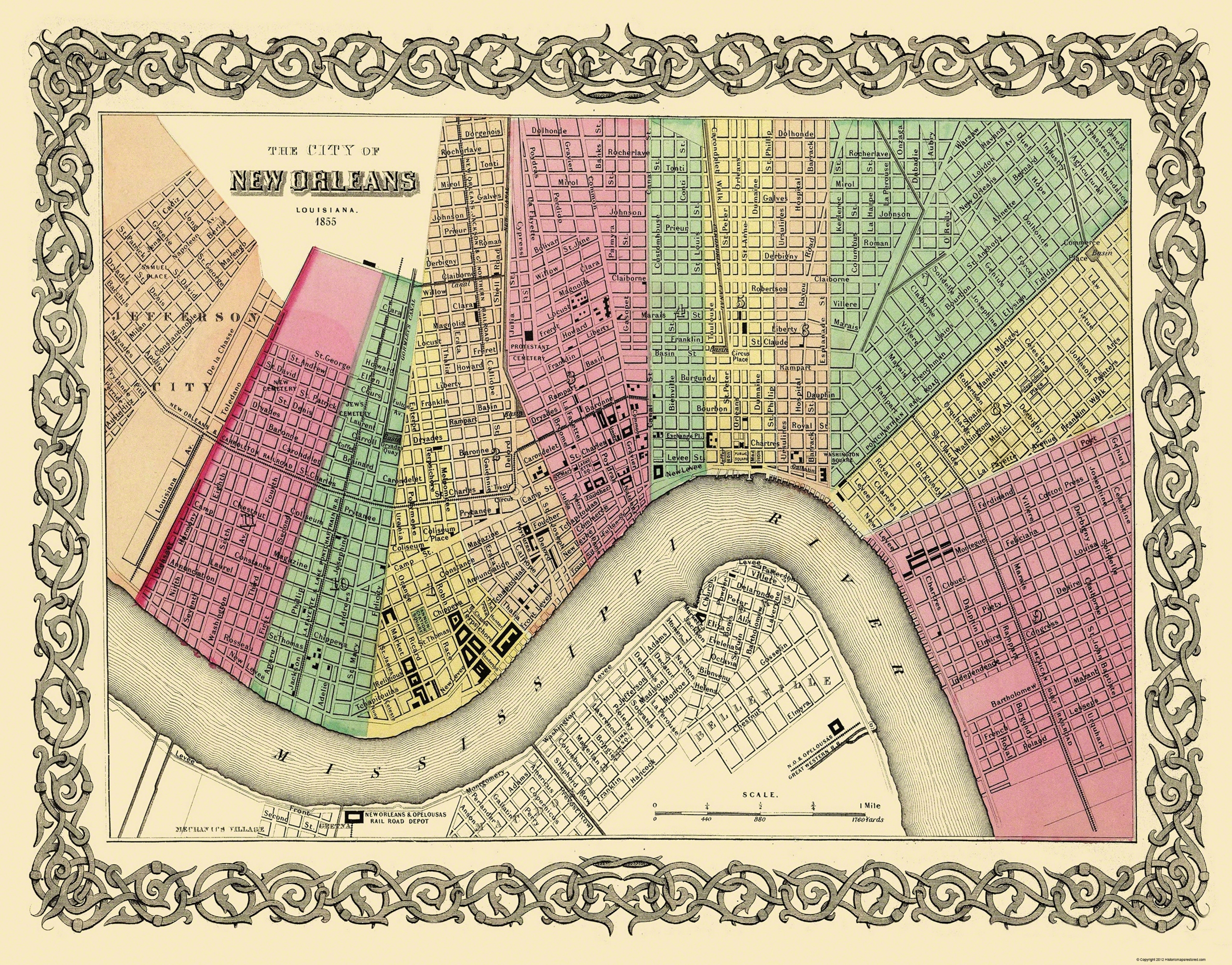 Old City Map - New Orleans Louisiana - 1855